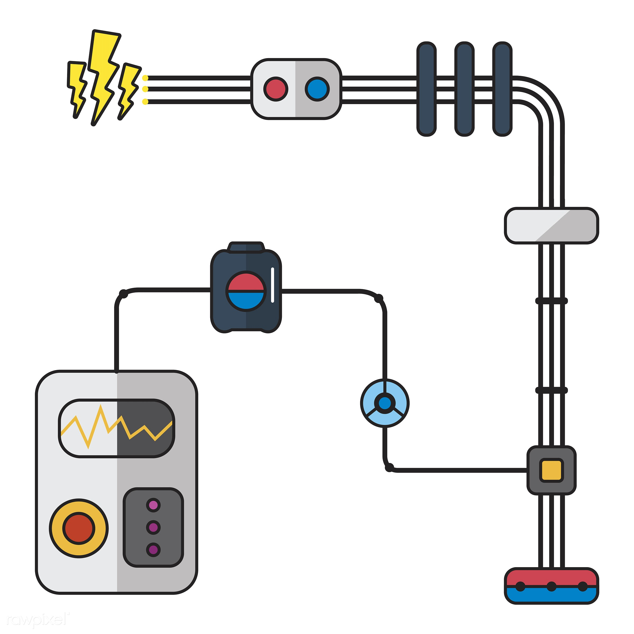 Illustration of electricity  - biology, chemistry, circuit, class, design, education, electric, electrical, electricity,...