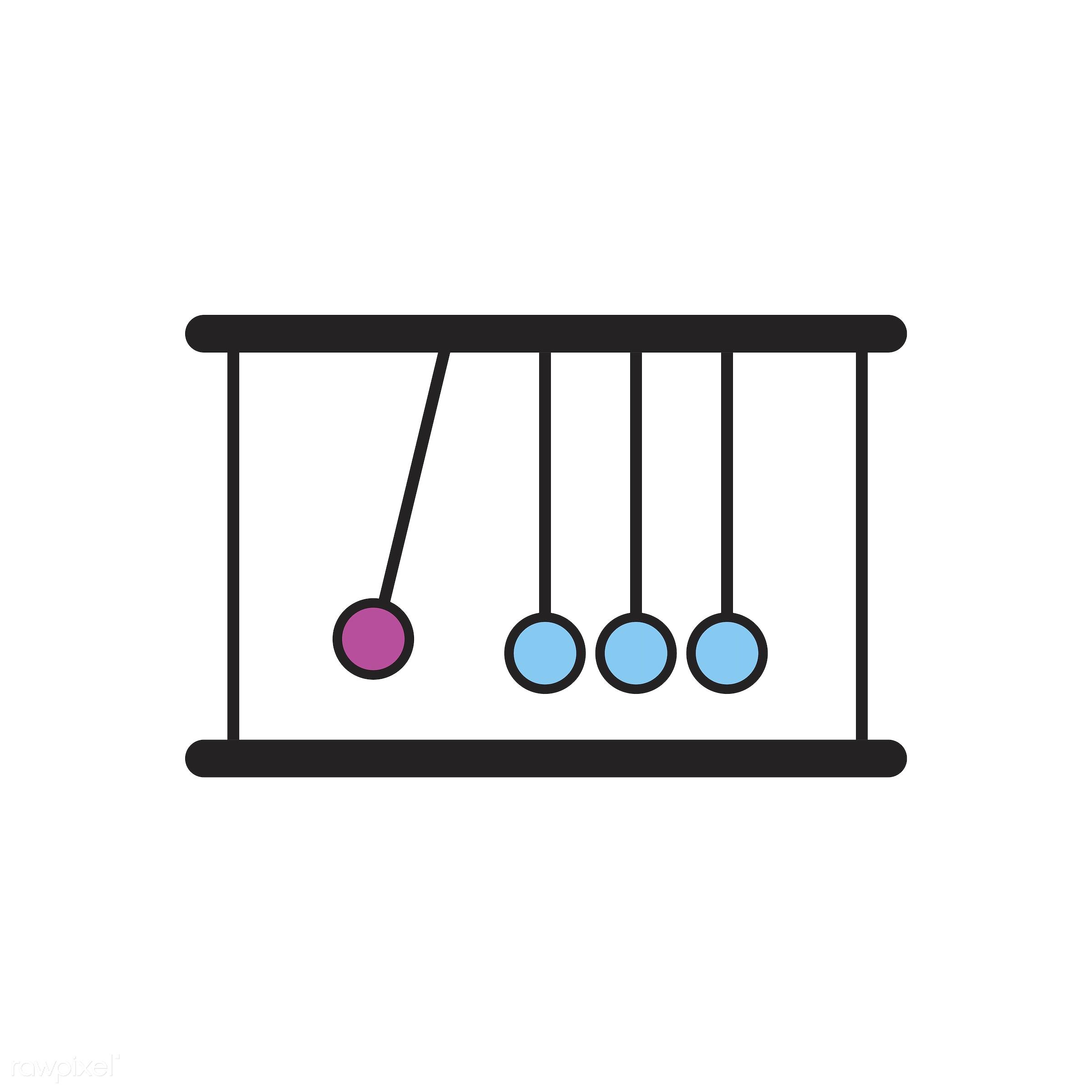 Illustration of Newton's cradle balls - ball, cradle, design, education, equipment, experiments, graphic, gravity, hit, icon...