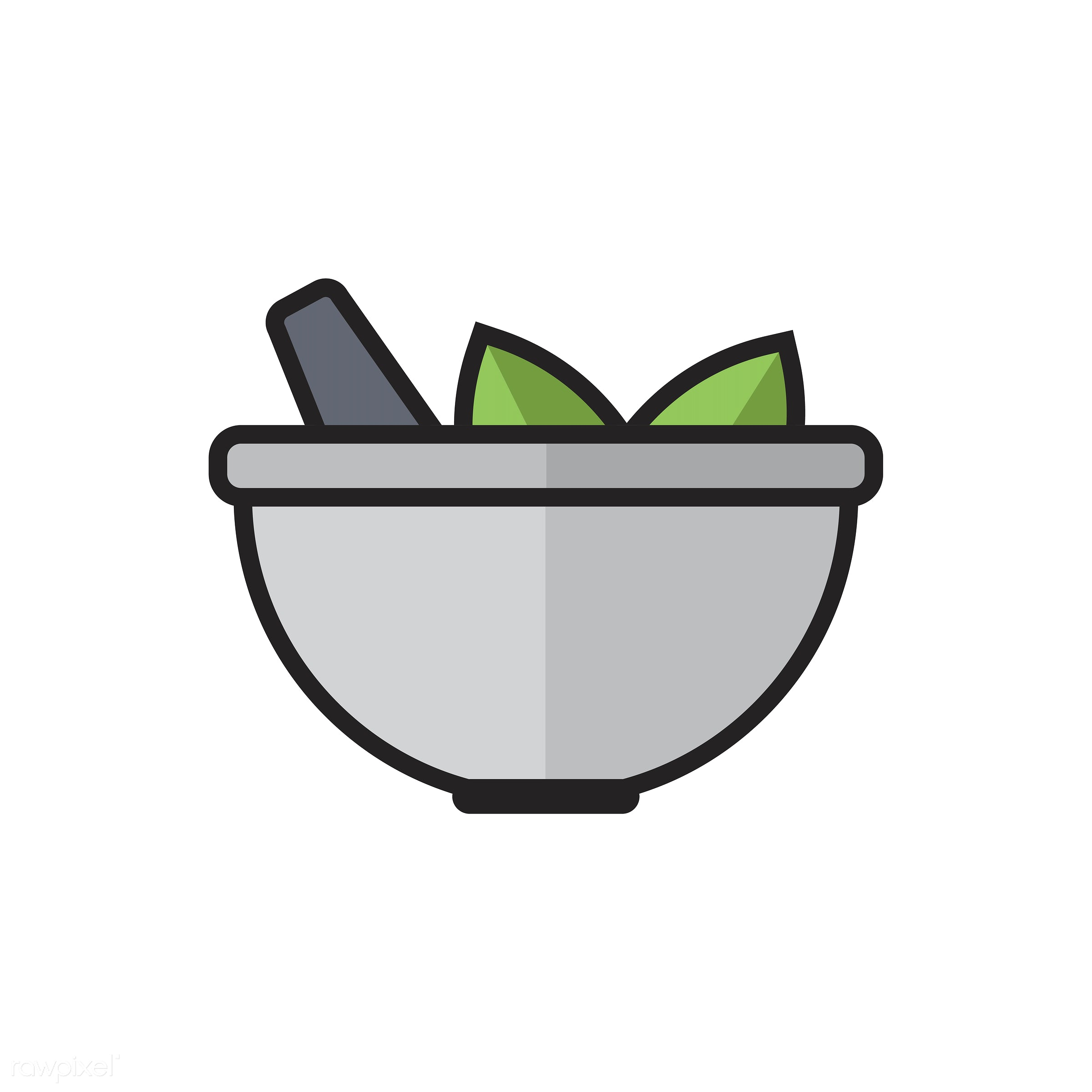 Illustration of mortar and pestle - biology, chemistry, class, design, education, equipment, experiments, graphic, grind,...