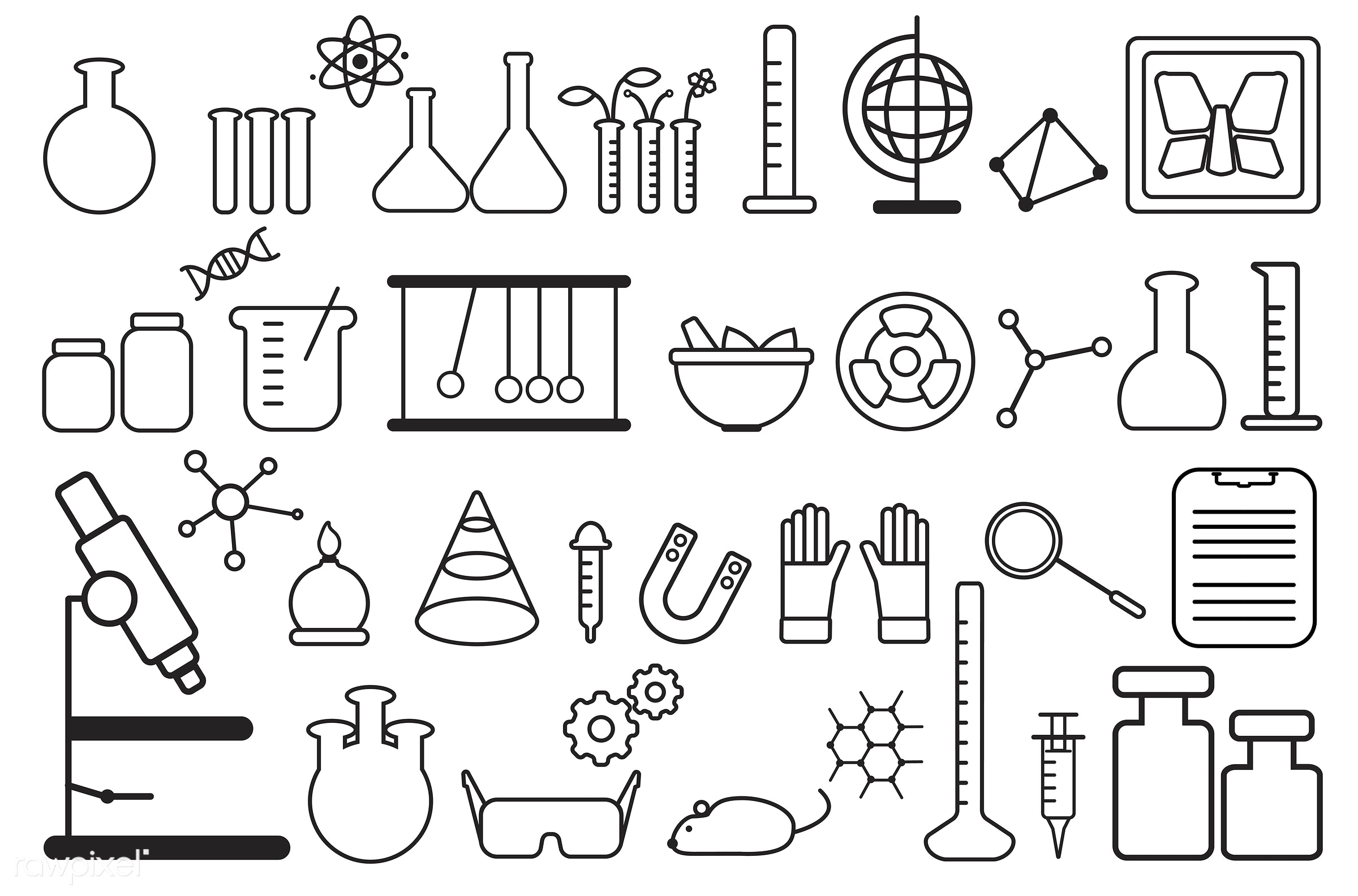 biology, chemistry, class, collage, collection, design, education, equipment, experiments, graphic, icon, illustration,...
