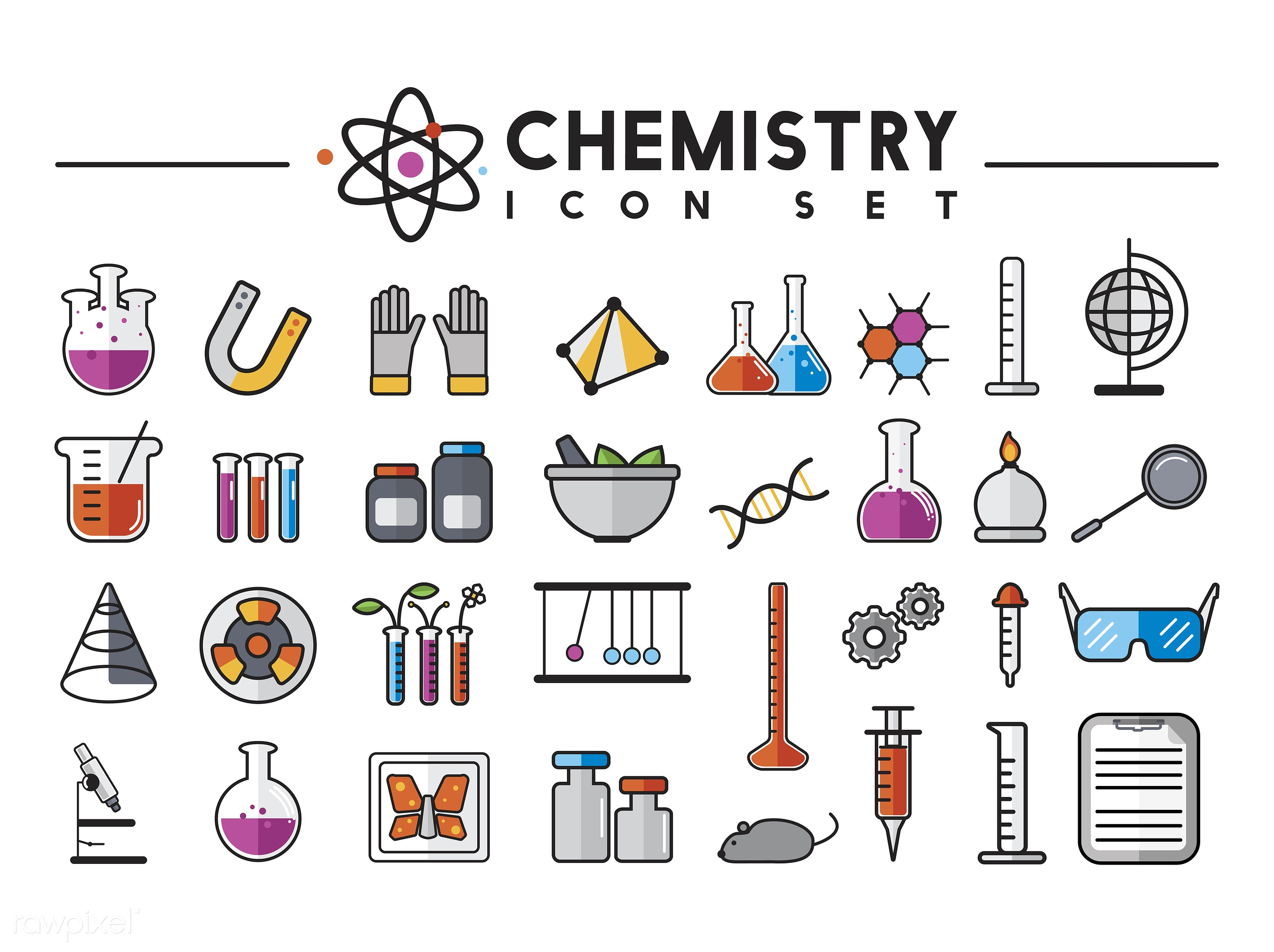 Illustration of chemistry laboratory instruments set - biology, chemistry, class, design, education, equipments, graphic,...