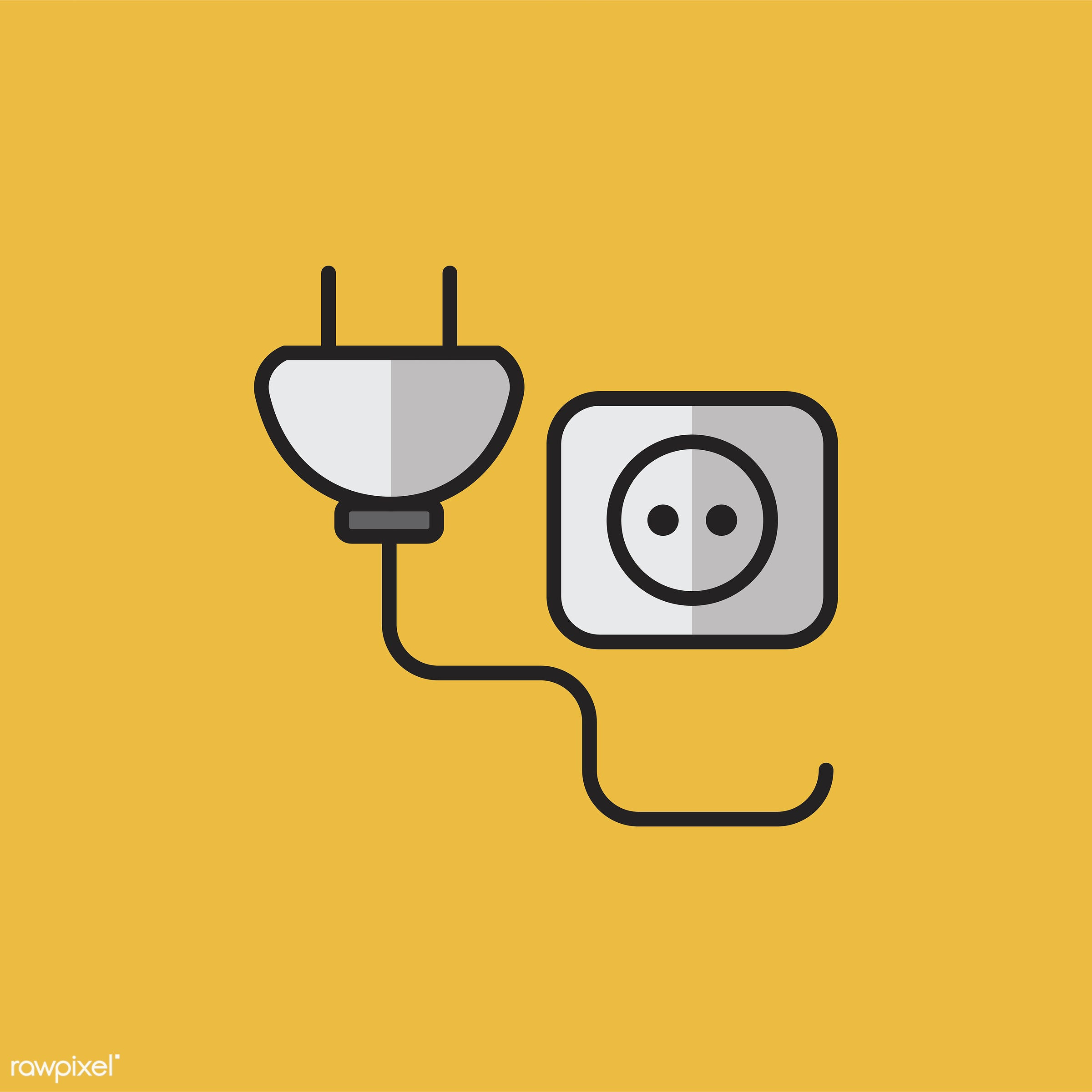 Illustration of power plug and socket - biology, chemistry, class, design, education, equipments, graphic, icon,...