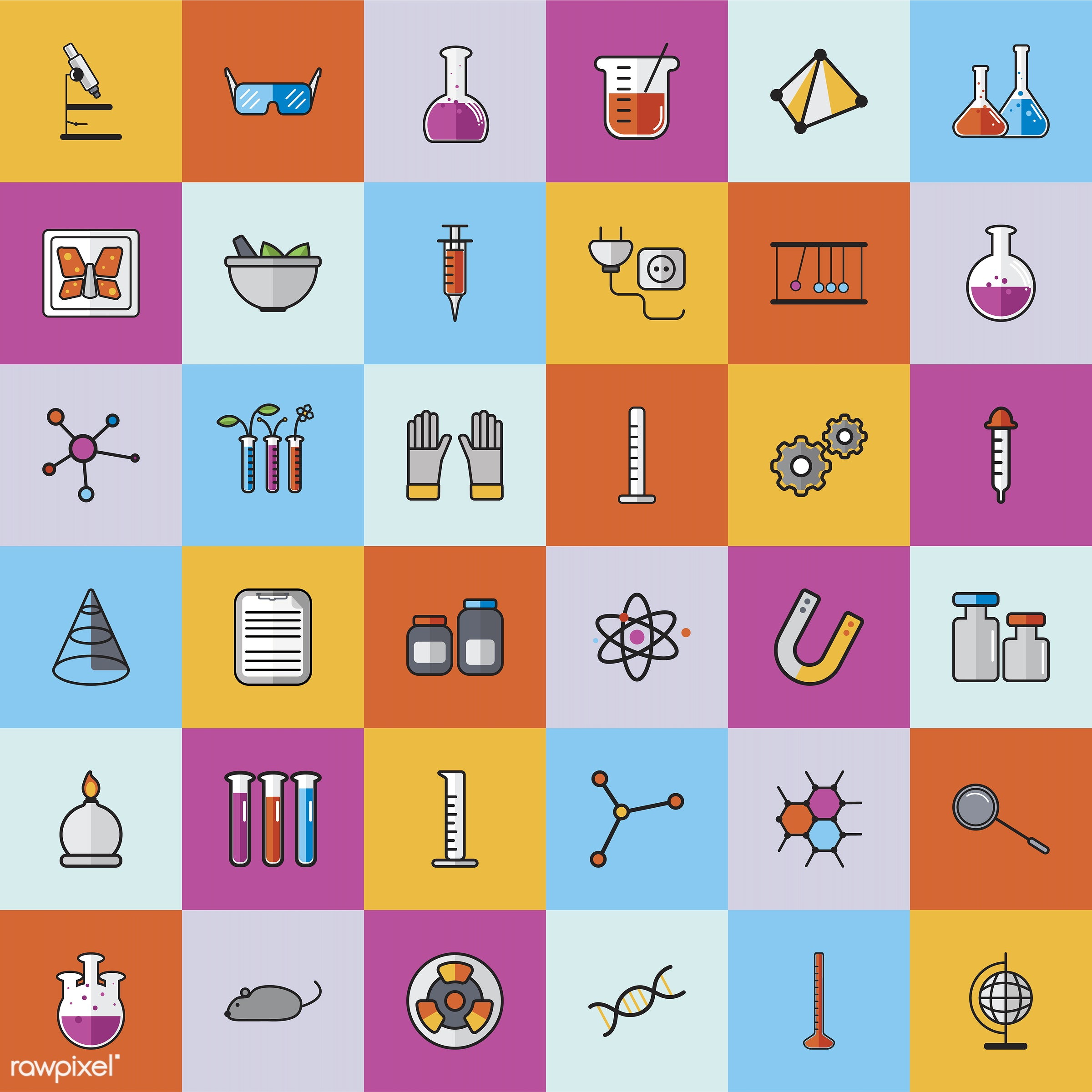 Collection of chemistry vectors - biology, chemistry, class, design, education, equipments, graphic, icon, illustration,...