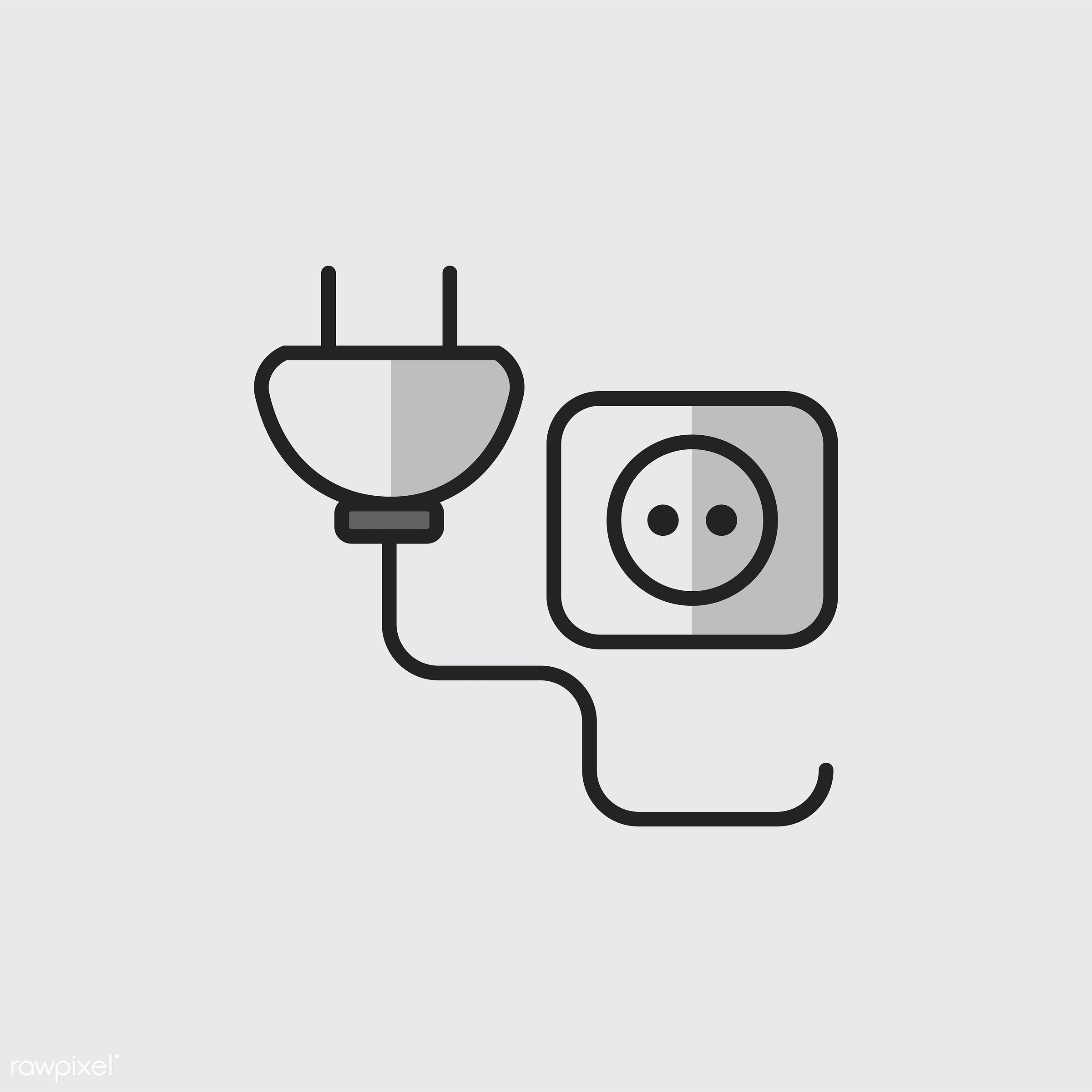 Illustration of power plug and socket - biology, chemistry, class, design, education, electric, electrical, electricity,...