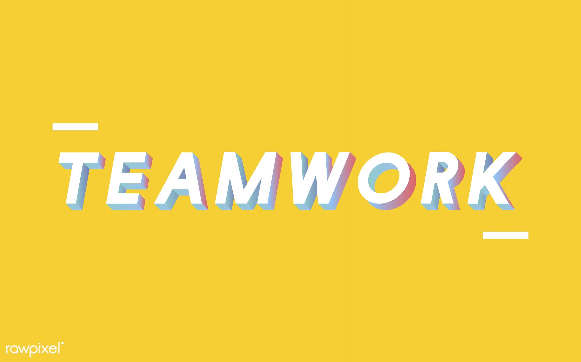 neon, colorful, 3d, three dimensional, vector, illustration, graphic, word, yellow, white, teamwork, team, collaboration,...