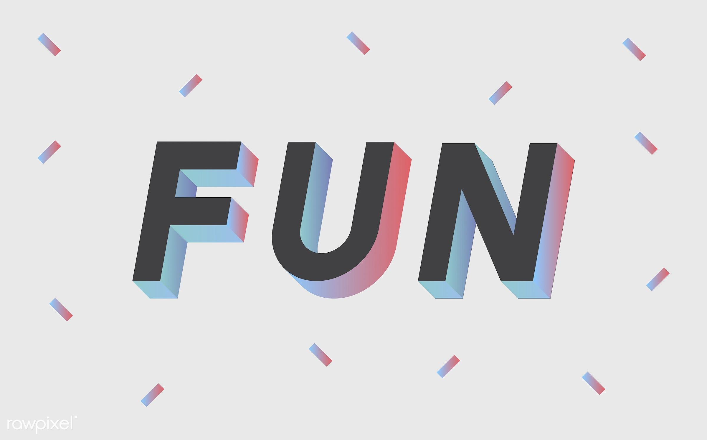 colorful, 3d, black, fun, funny, graphic, illustration, neon, three dimensional, vector, white, word