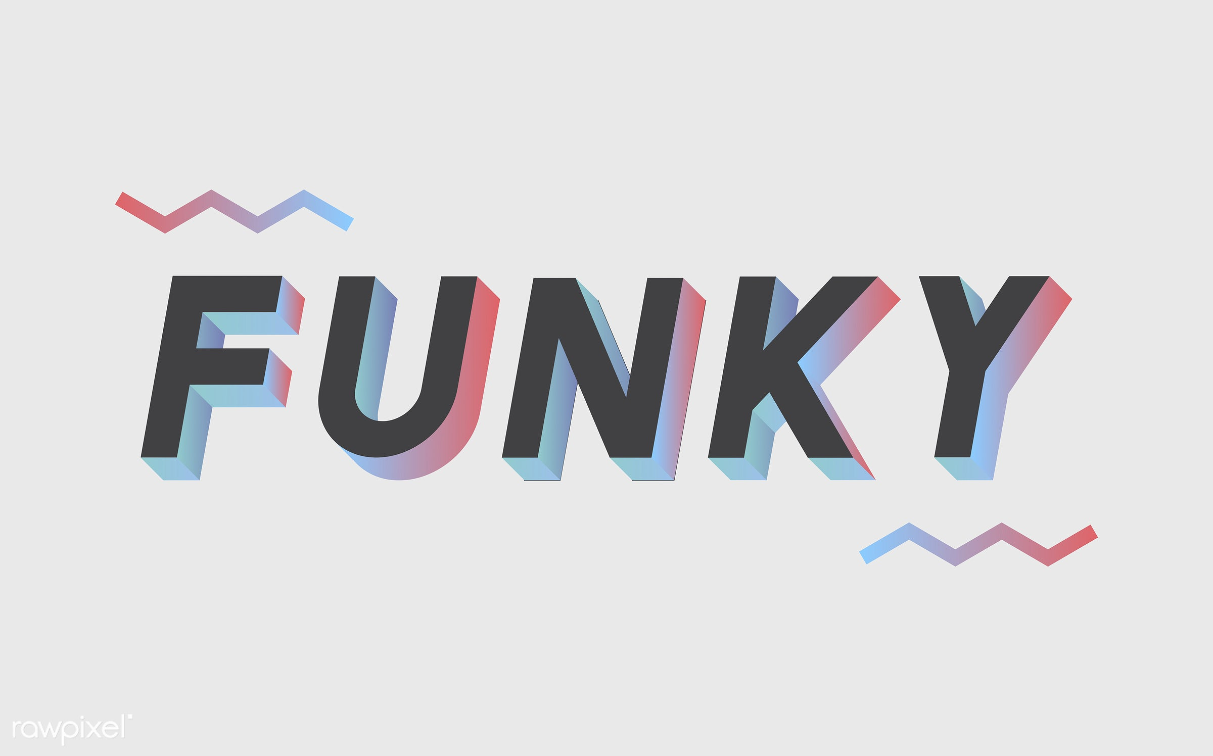 neon, colorful, 3d, three dimensional, vector, illustration, graphic, word, white, black, funky, cool, hip