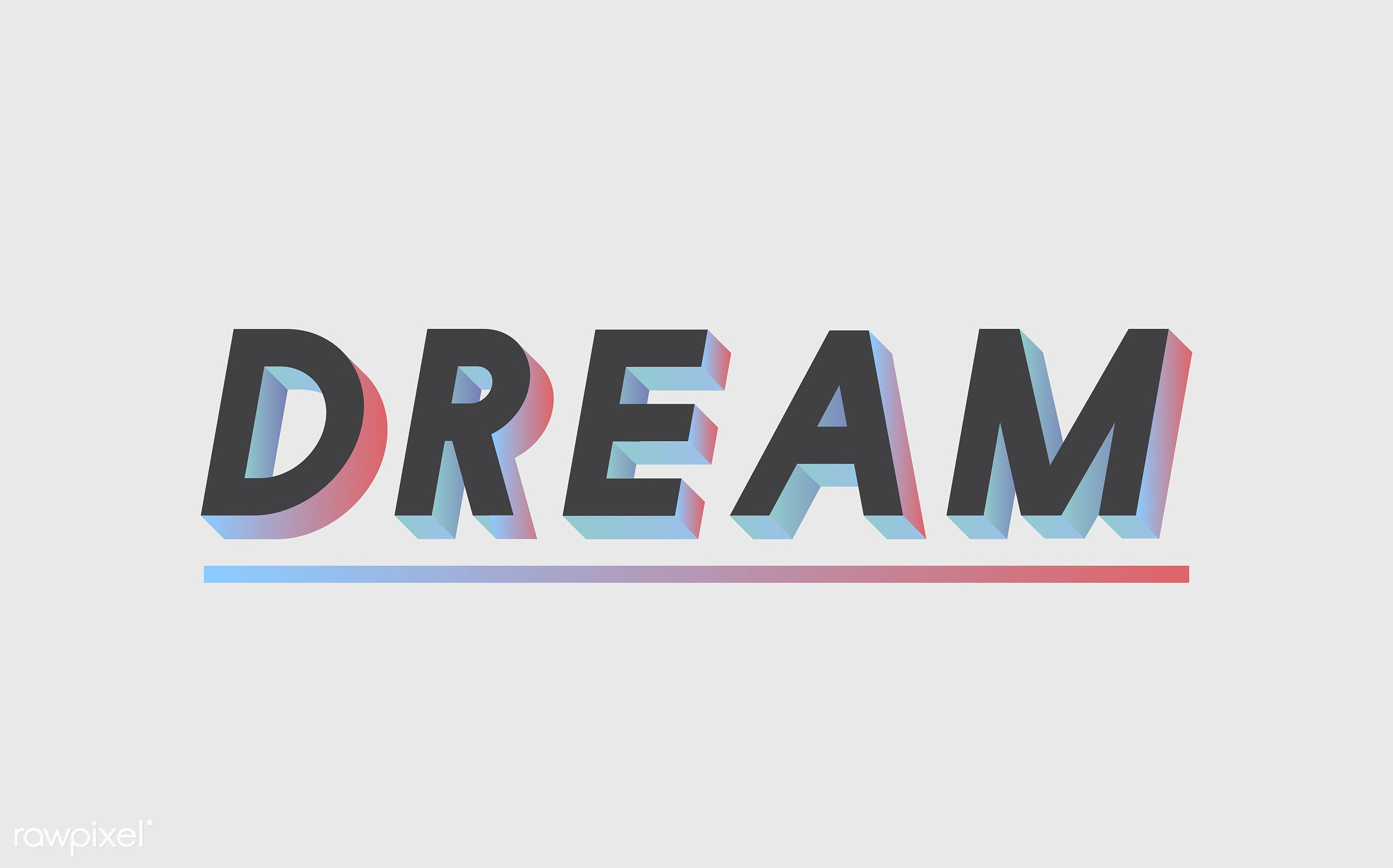 neon, colorful, 3d, three dimensional, vector, illustration, graphic, word, white, black, dream, dreaming