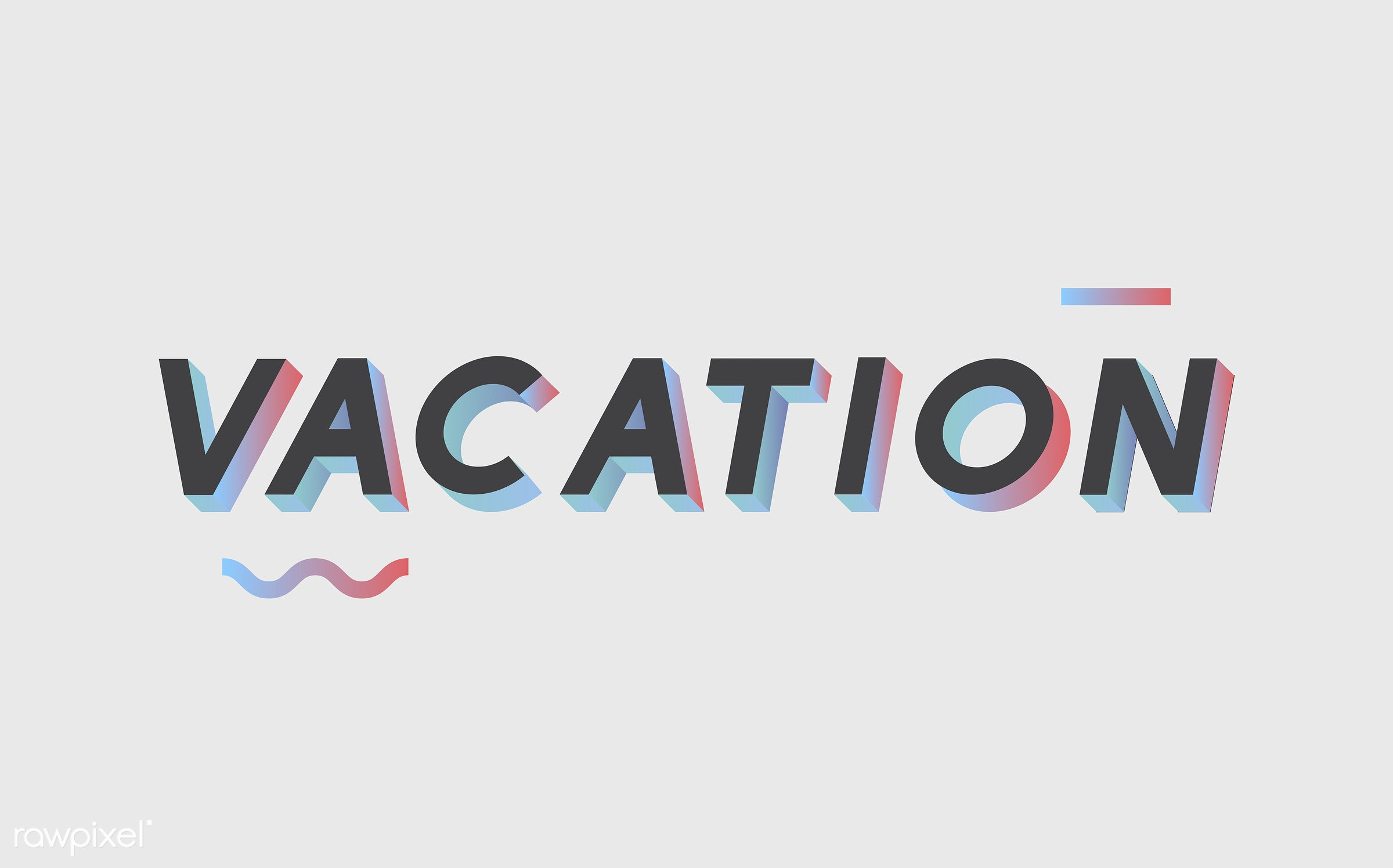 neon, colorful, 3d, three dimensional, vector, illustration, graphic, word, white, black, vacation, holiday