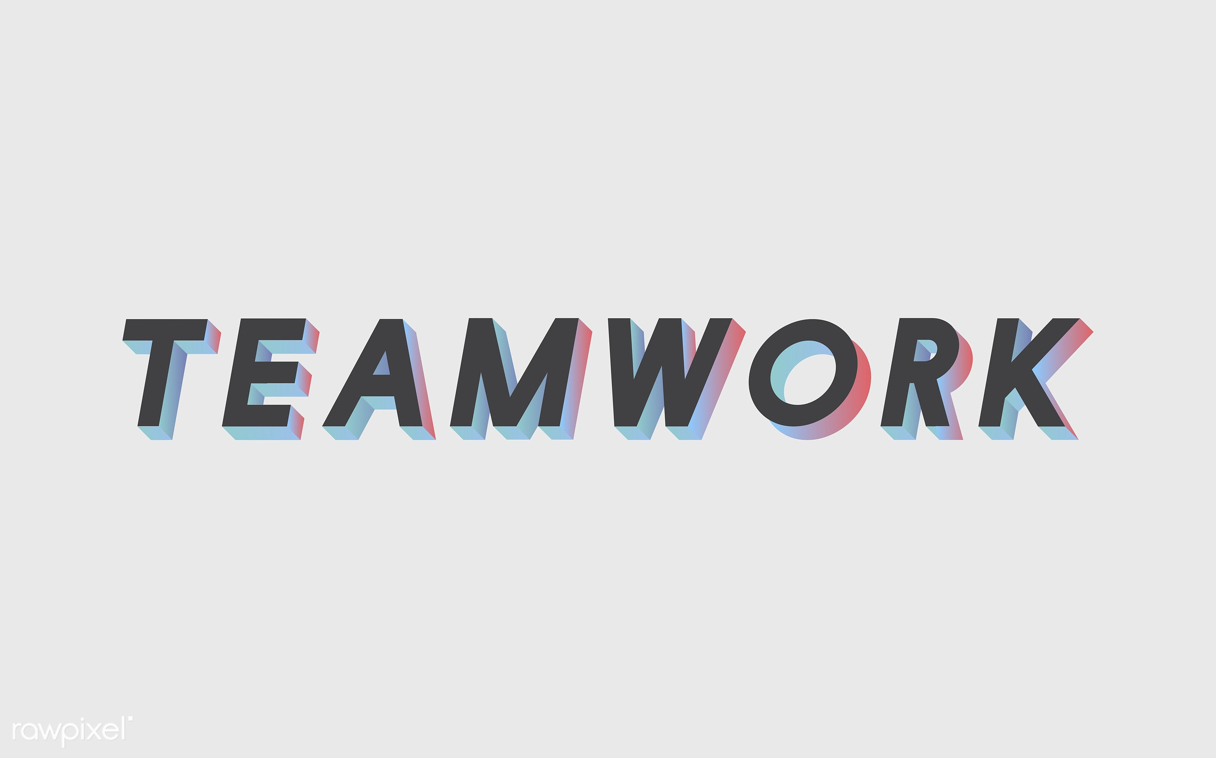 neon, colorful, 3d, three dimensional, vector, illustration, graphic, word, white, black, teamwork, team