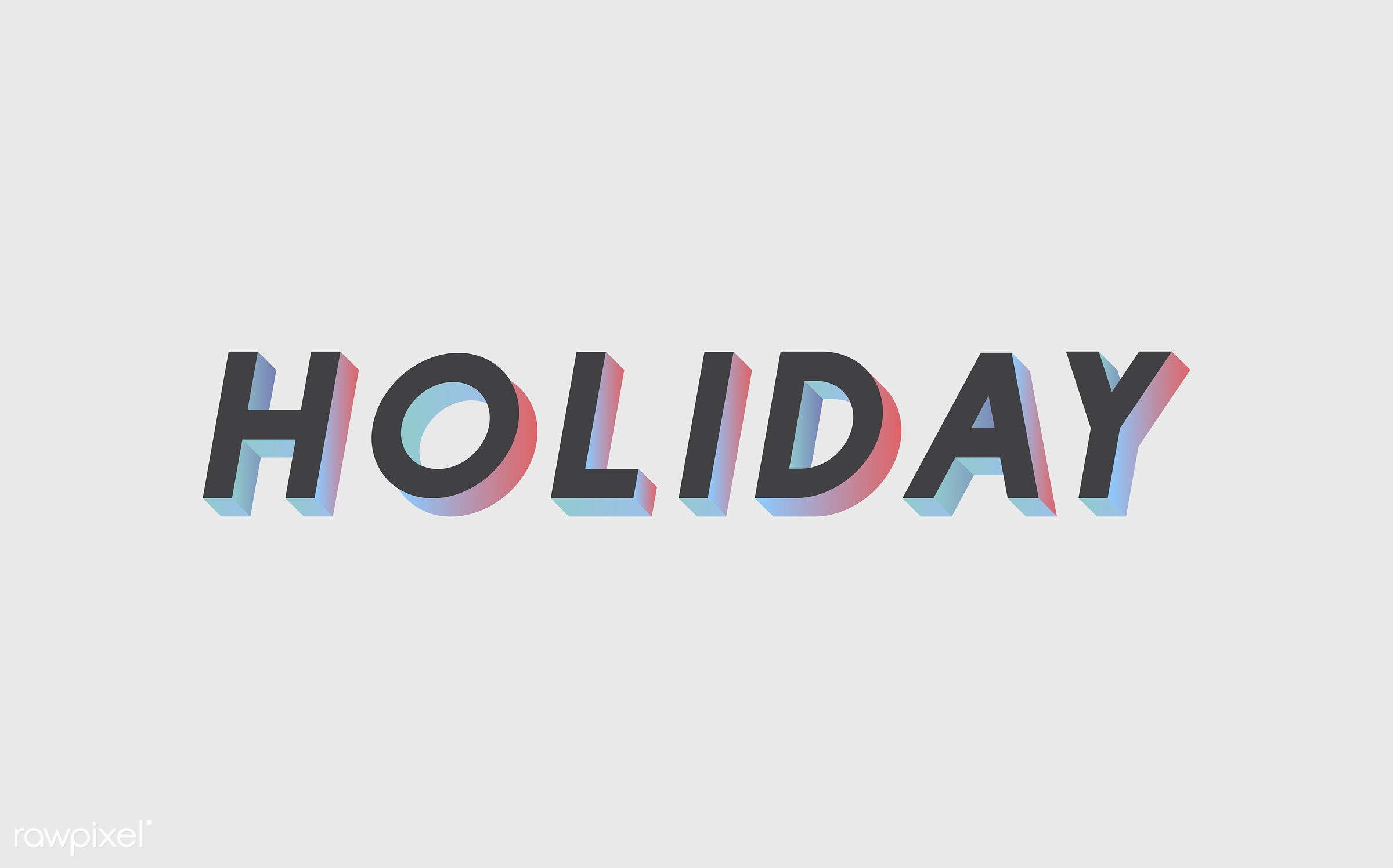 neon, colorful, 3d, three dimensional, vector, illustration, graphic, word, white, black, holiday, vacation