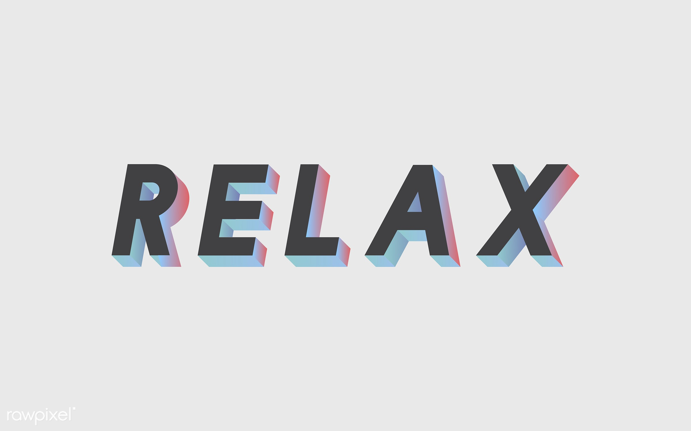 word, 3d, black, colorful, graphic, illustration, neon, relax, relaxation, relaxing, three dimensional, vector, white