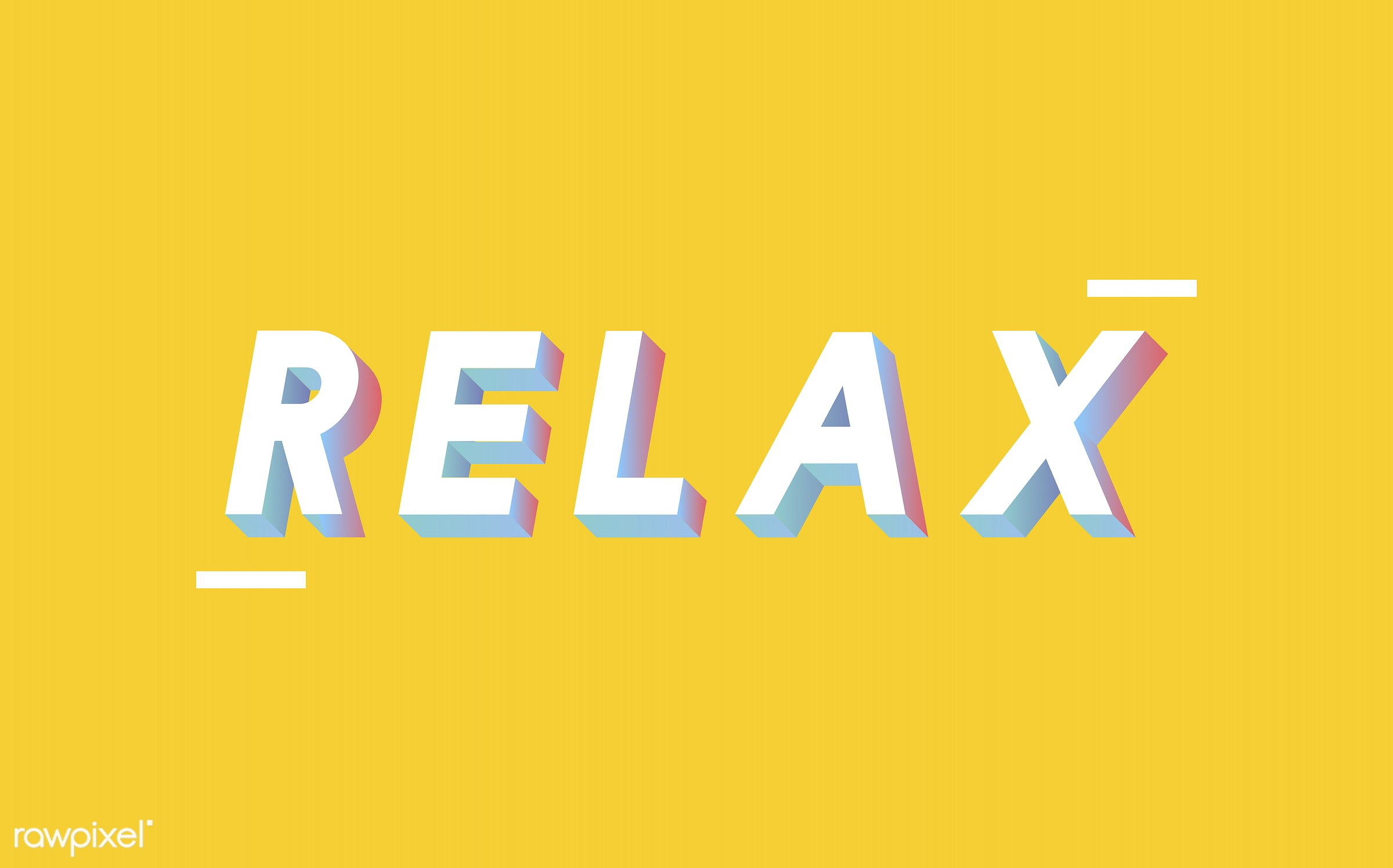 neon, colorful, 3d, three dimensional, vector, illustration, graphic, word, yellow, white, relax, relaxation, relaxing