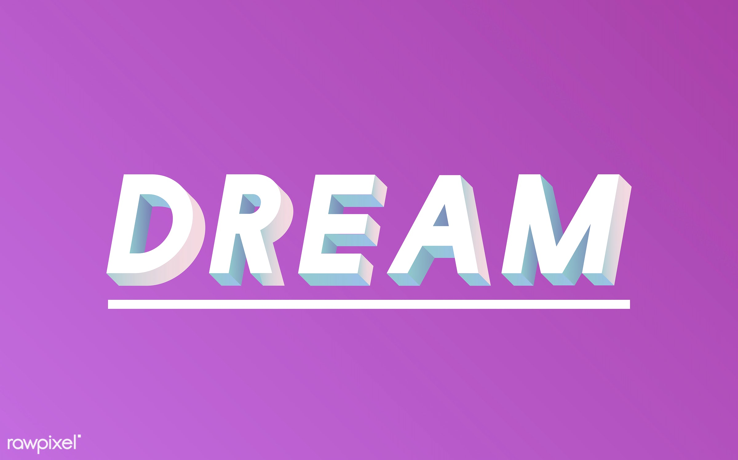 neon, colorful, 3d, three dimensional, vector, illustration, graphic, word, pink, white, dream, dreamer, dream big