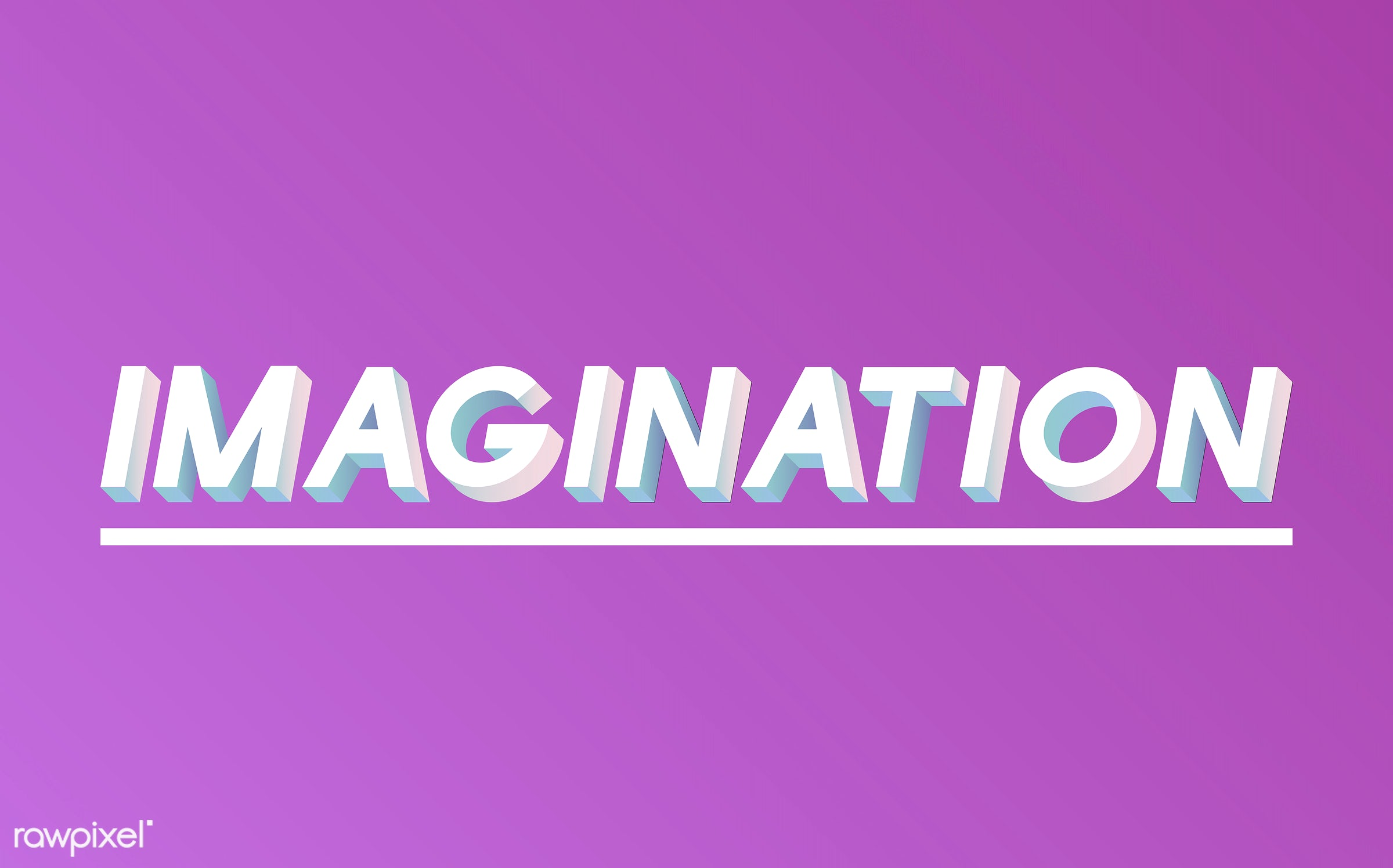 neon, colorful, 3d, three dimensional, vector, illustration, graphic, word, pink, white, imagination, imagine, ideas