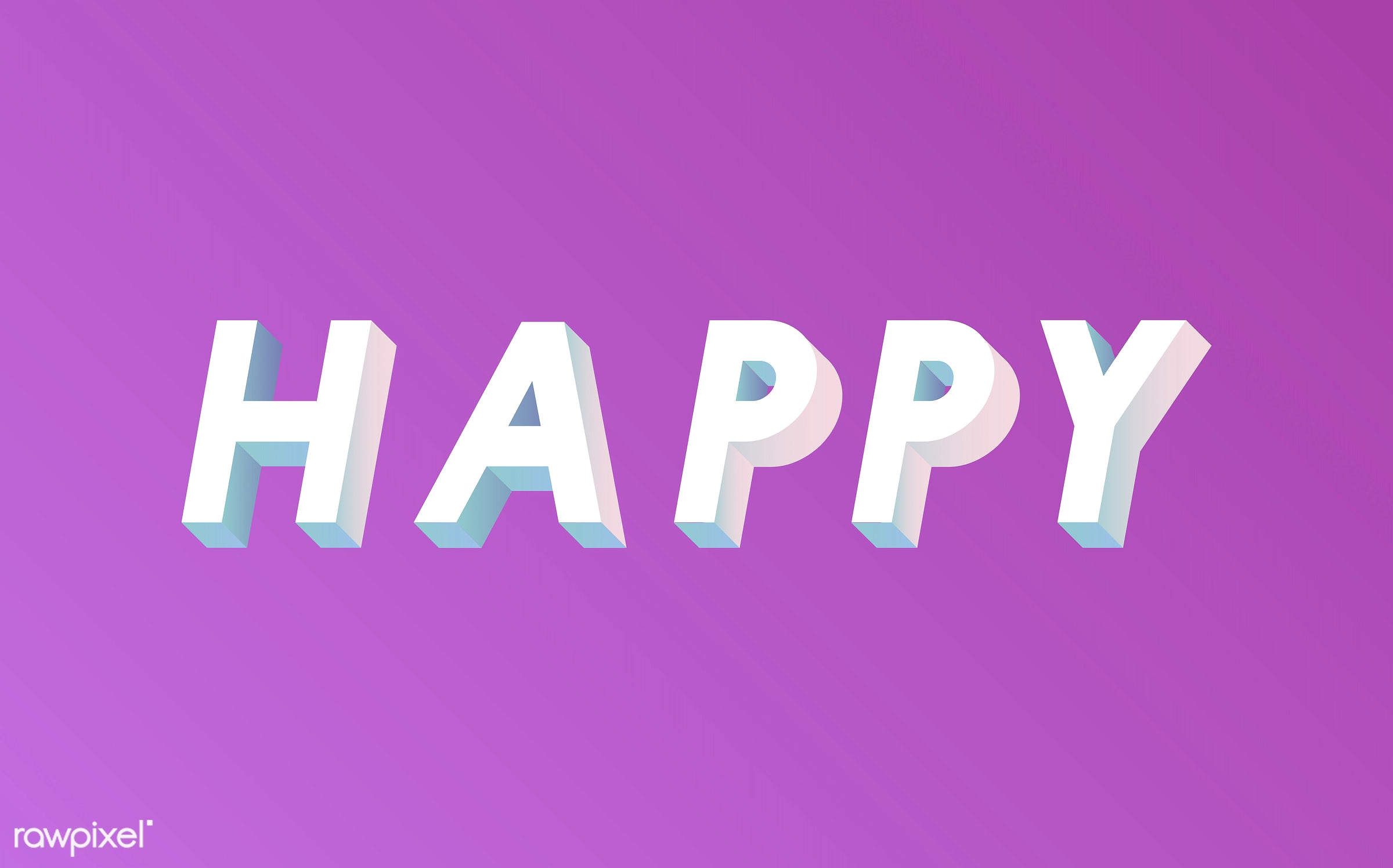 neon, colorful, 3d, three dimensional, vector, illustration, graphic, word, pink, white, happy, happiness, be happy