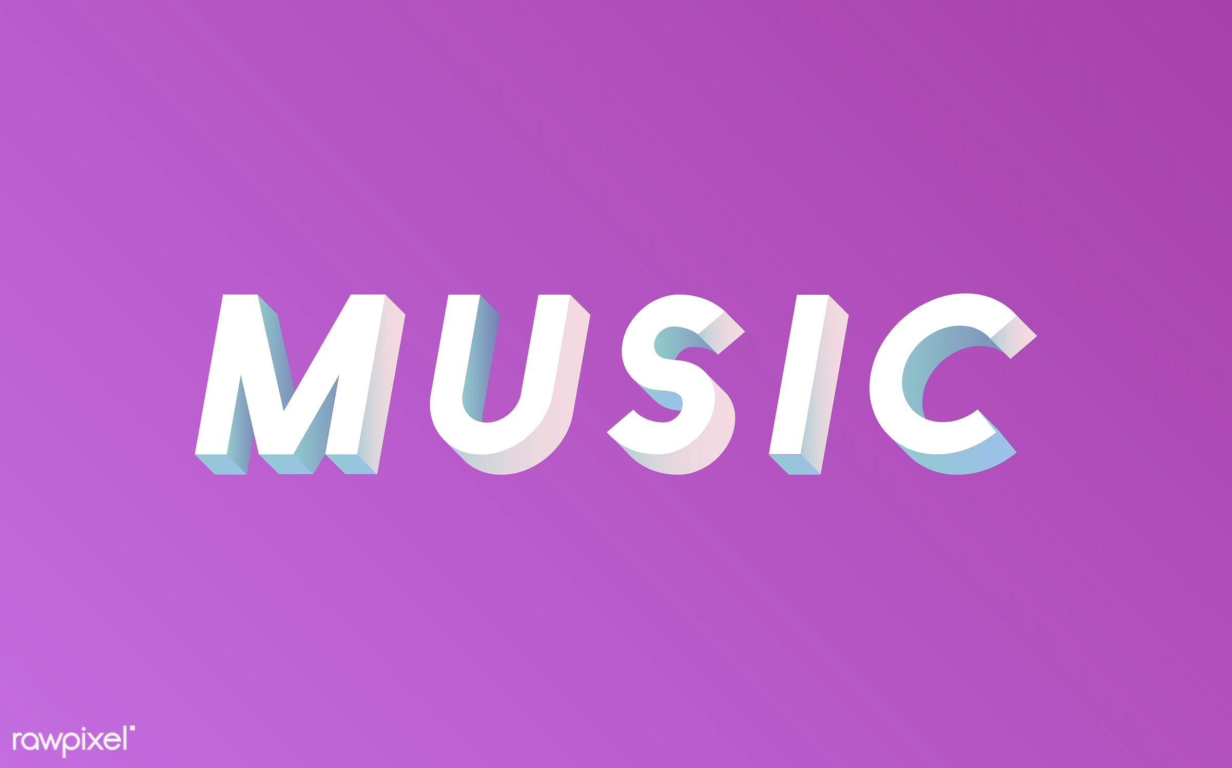 3d, colorful, graphic, illustration, music, neon, pink, three dimensional, vector, white, word