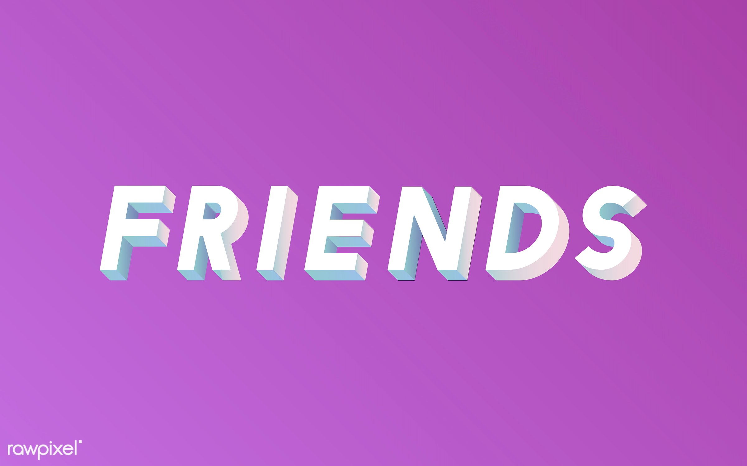 Friends word in 3D font - neon, colorful, 3d, three dimensional, vector, illustration, graphic, word, pink, white, friends,...
