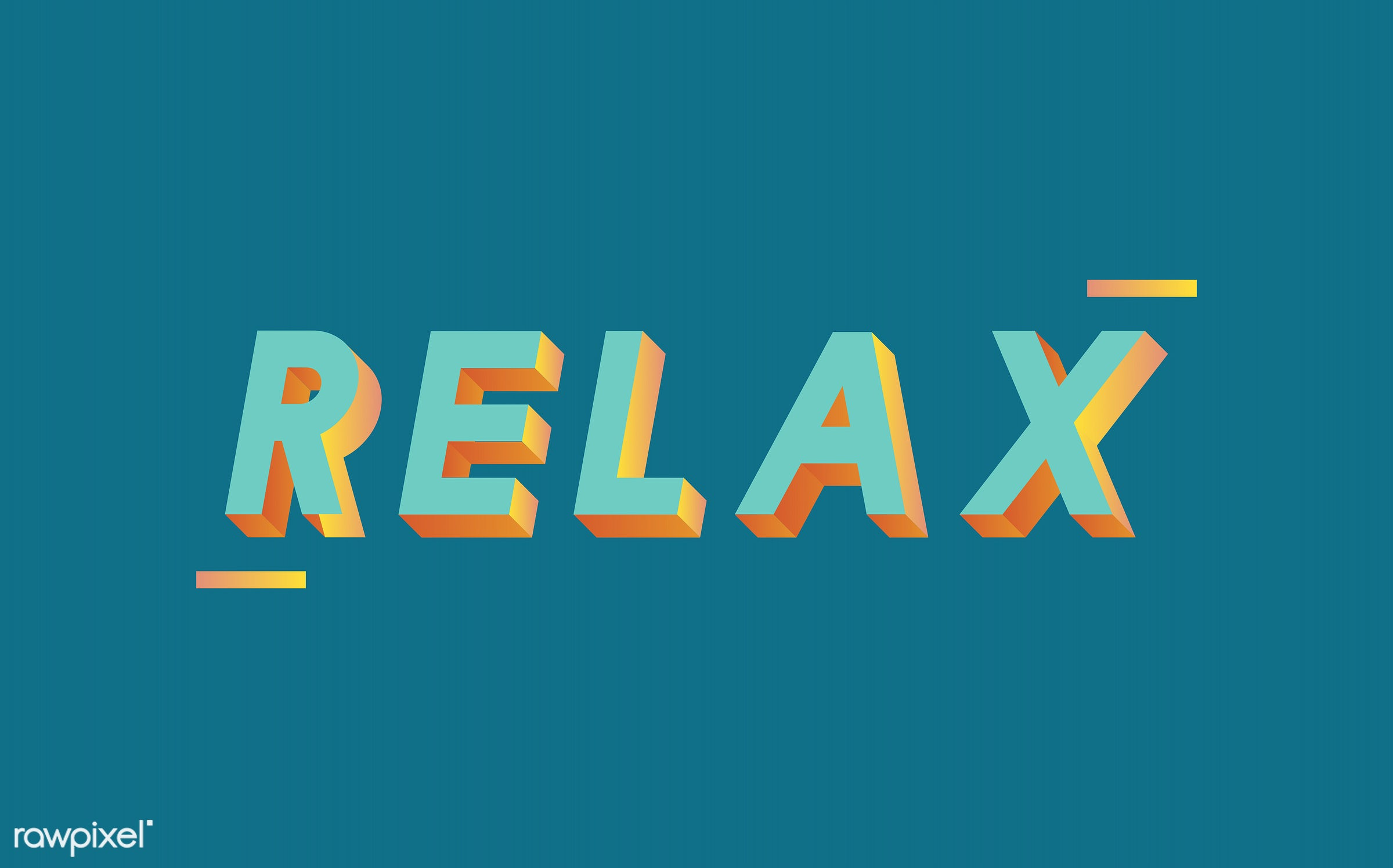 neon, colorful, 3d, three dimensional, vector, illustration, graphic, word, green, relax, relaxation, relaxing