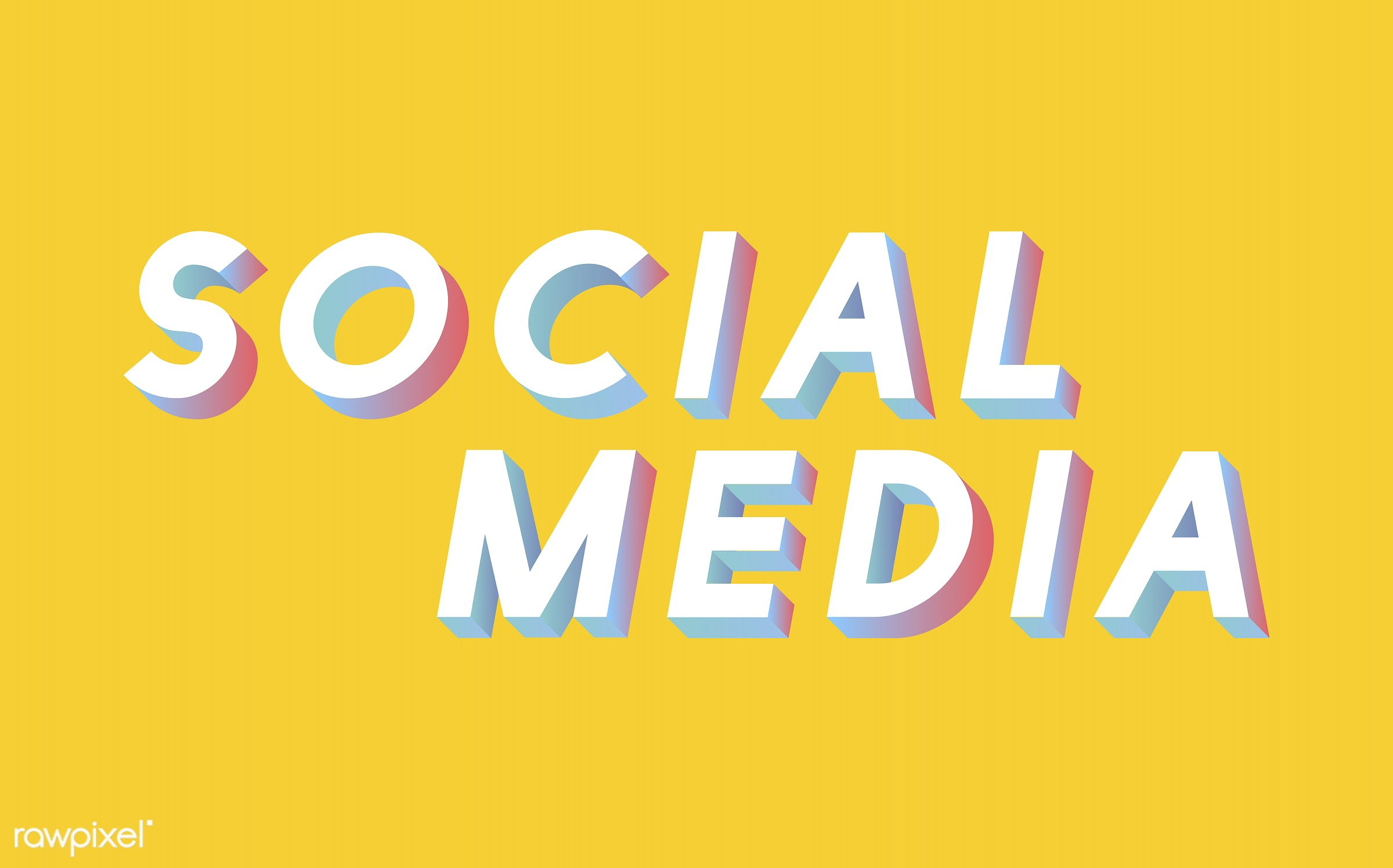yellow, 3d, colorful, graphic, illustration, media, neon, online, social media, three dimensional, vector, white, word