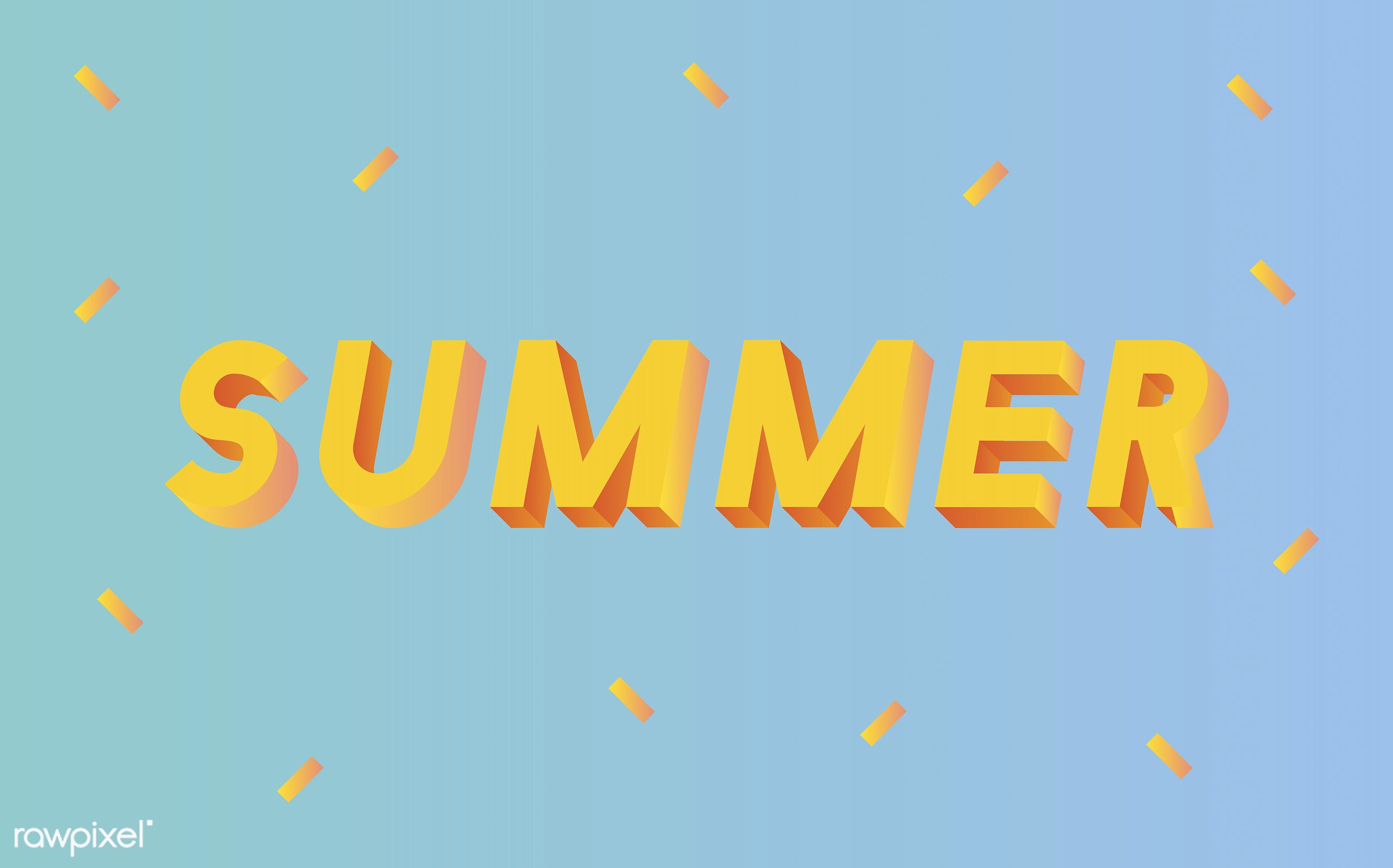 neon, colorful, 3d, three dimensional, vector, illustration, graphic, word, blue, yellow, summer