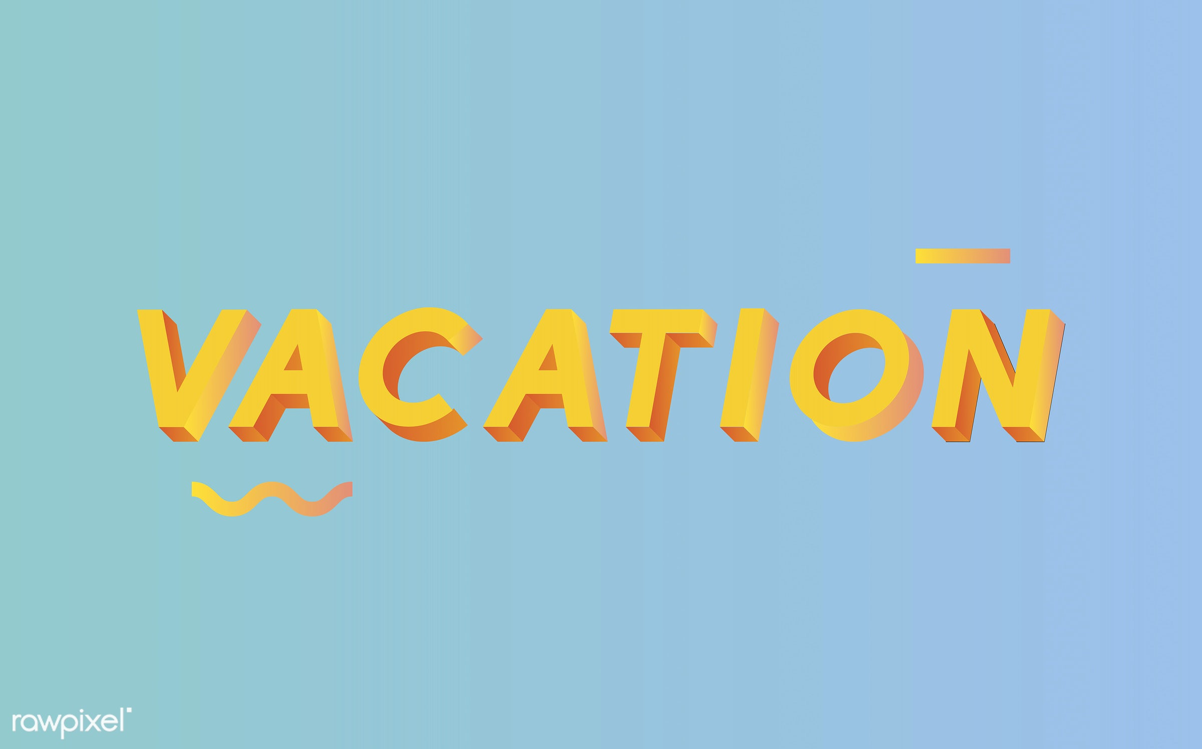neon, colorful, 3d, three dimensional, vector, illustration, graphic, word, blue, yellow, vacation, holiday