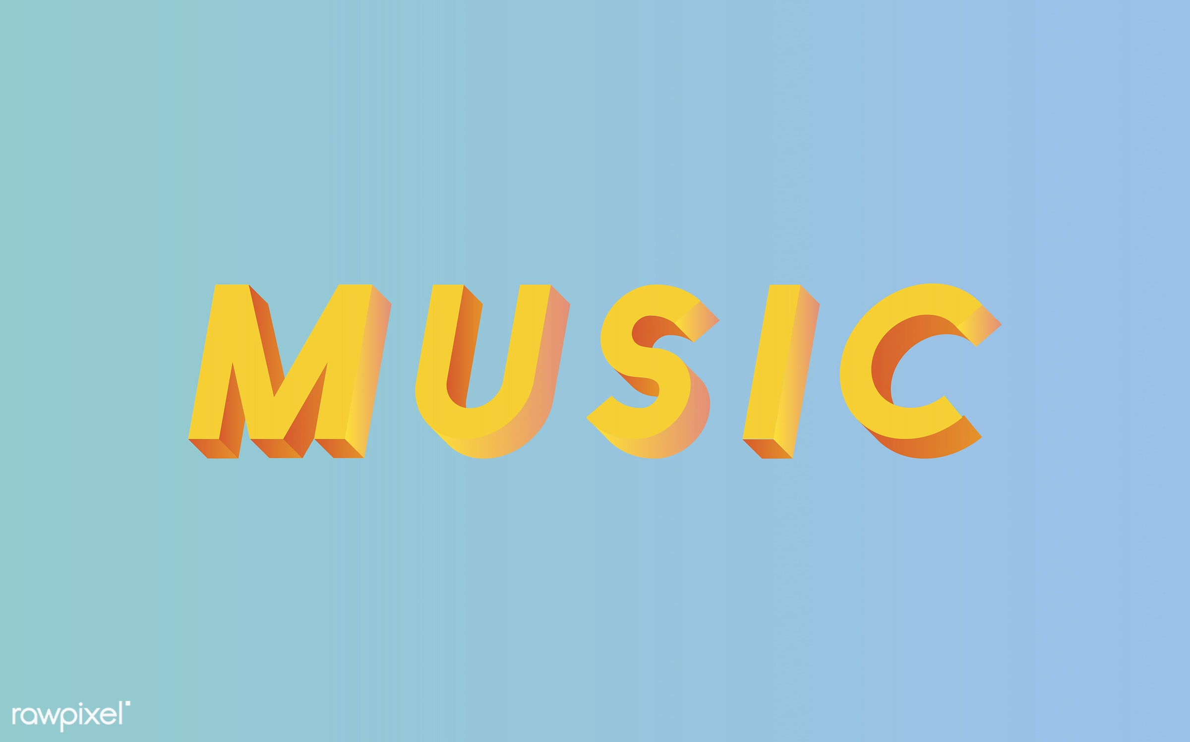 neon, colorful, 3d, three dimensional, vector, illustration, graphic, word, blue, yellow, music