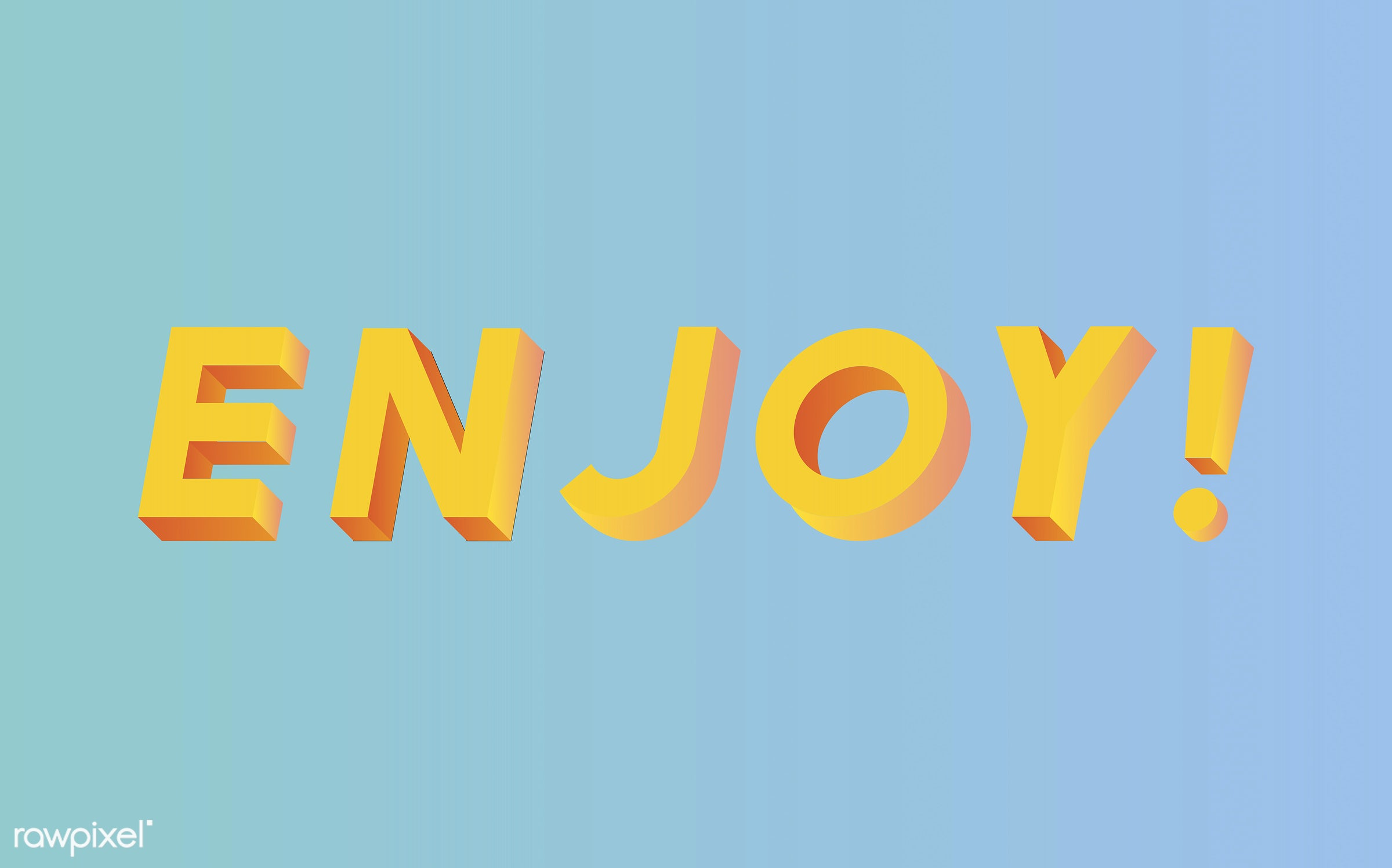 neon, colorful, 3d, three dimensional, vector, illustration, graphic, word, blue, yellow, enjoy, joy, enjoyment