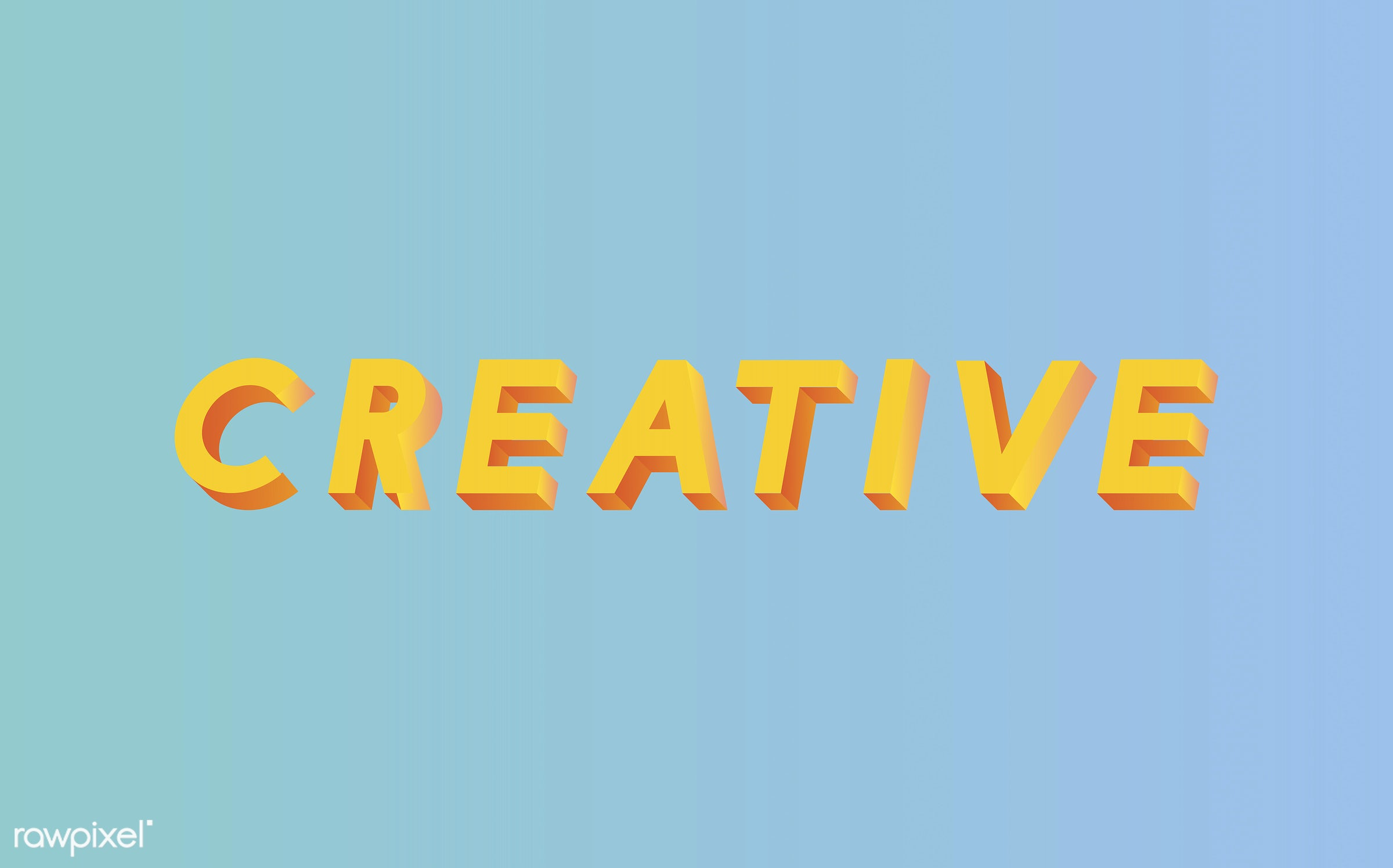 neon, colorful, 3d, three dimensional, vector, illustration, graphic, word, blue, yellow, creative, creativity