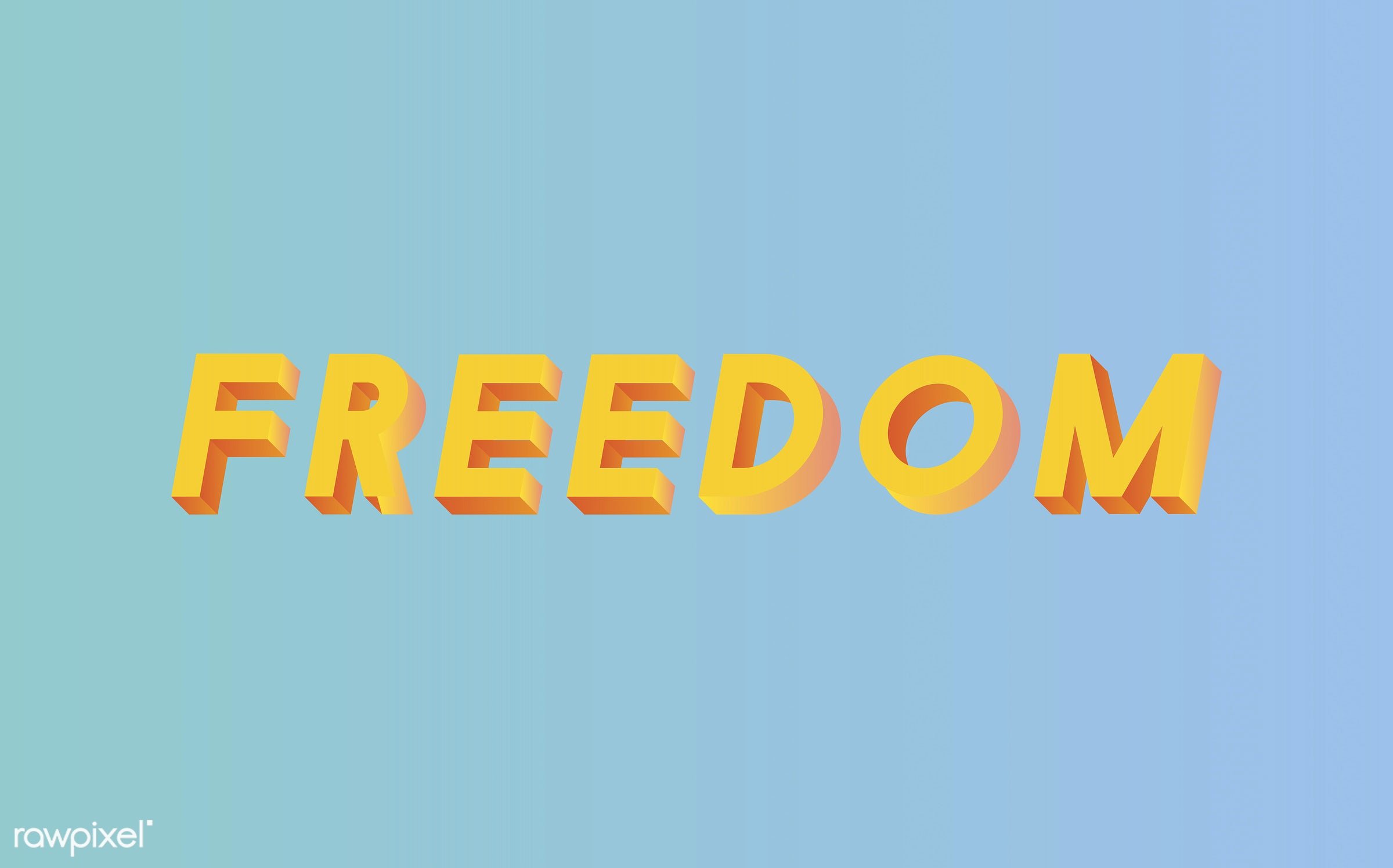 neon, colorful, 3d, three dimensional, vector, illustration, graphic, word, blue, yellow, freedom, free