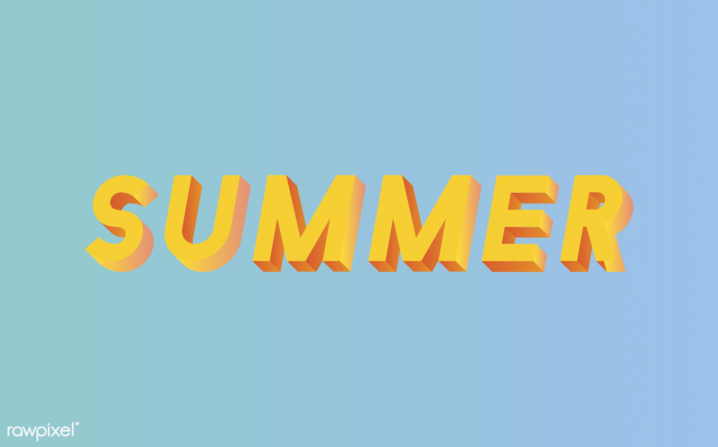 summer, 3d, blue, colorful, graphic, illustration, neon, three dimensional, vector, word, yellow