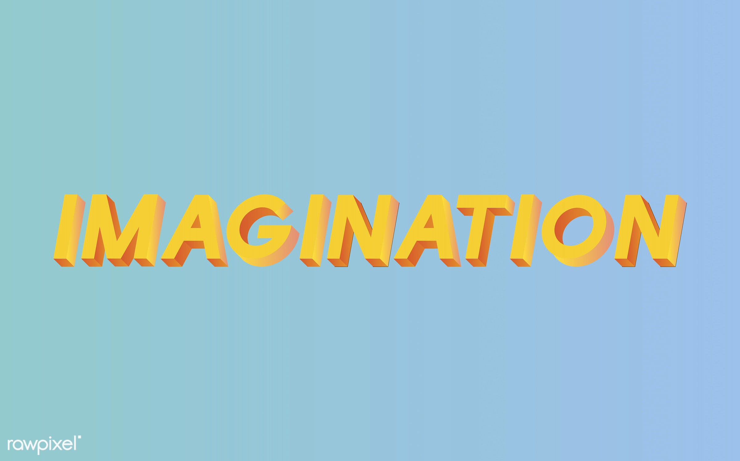 neon, colorful, 3d, three dimensional, vector, illustration, graphic, word, blue, yellow, imagination, ideas, imagine