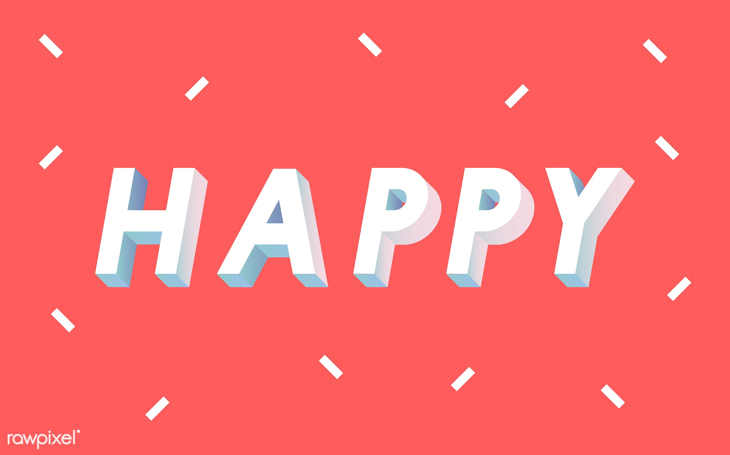 neon, colorful, 3d, three dimensional, vector, illustration, graphic, word, red, white, happy, be happy, happiness