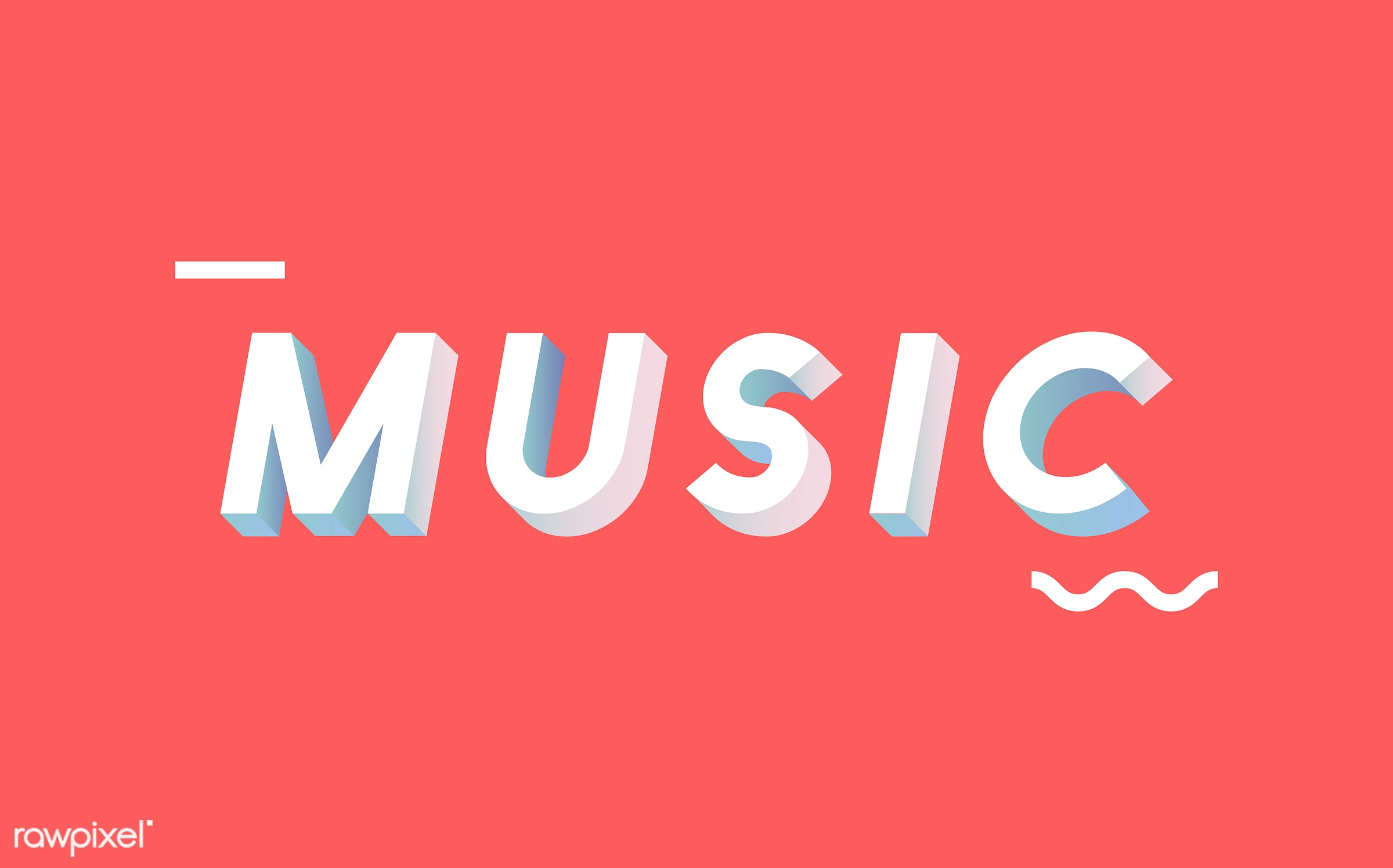 3d, colorful, graphic, illustration, music, neon, red, three dimensional, vector, white, word