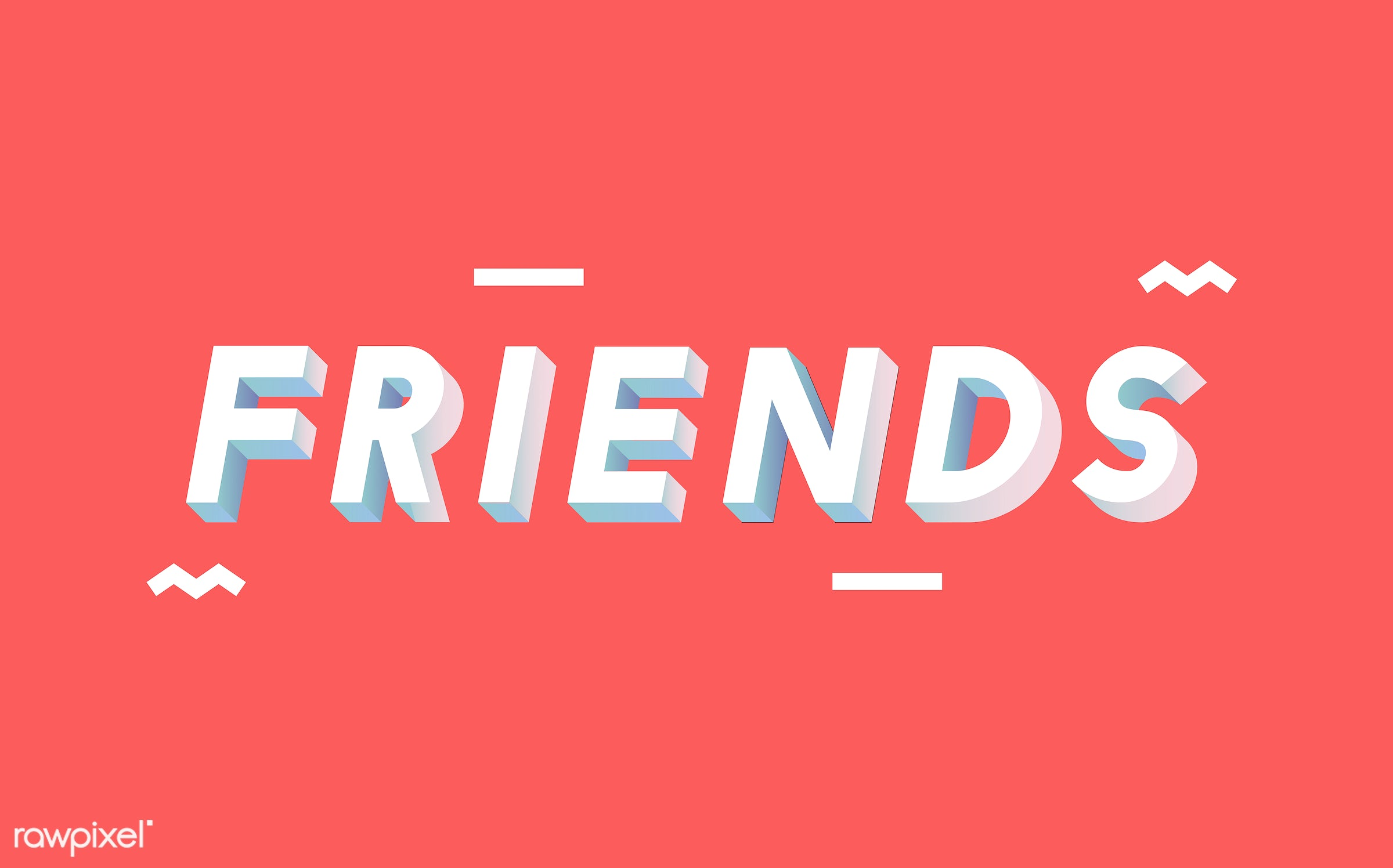 Friends word in 3D font - neon, colorful, 3d, three dimensional, vector, illustration, graphic, word, red, white, friends,...