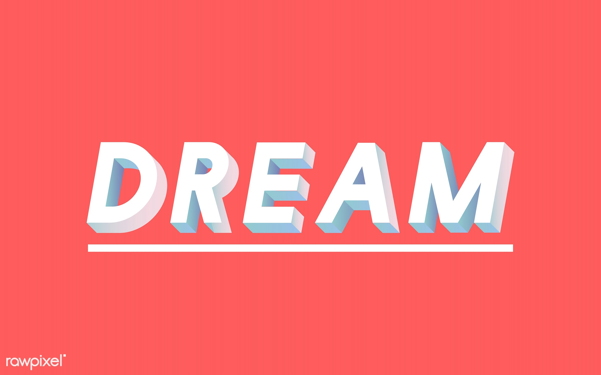 neon, colorful, 3d, three dimensional, vector, illustration, graphic, word, red, white, dream big, dream, dreamer