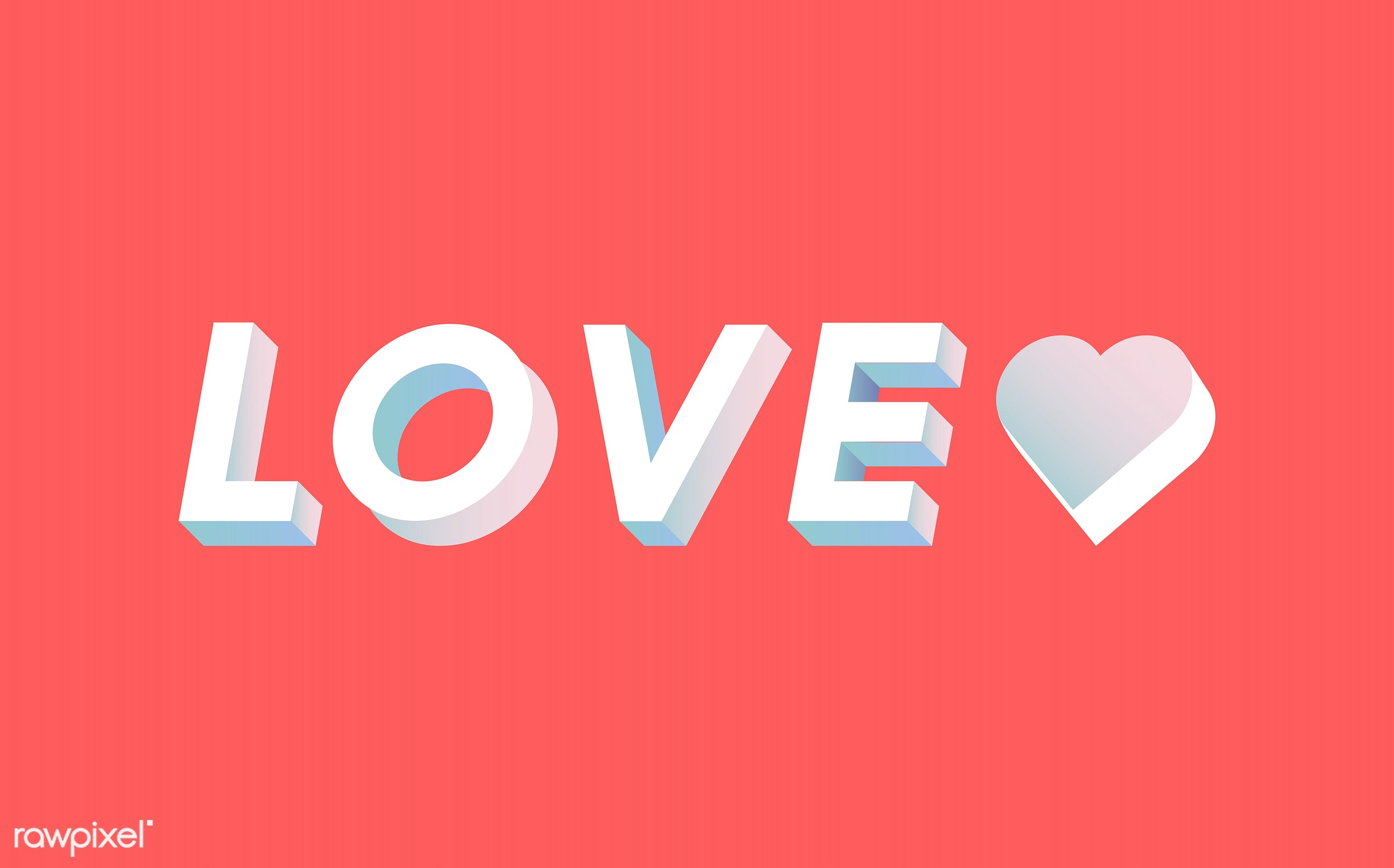 love, 3d, colorful, graphic, illustration, in love, neon, red, romance, three dimensional, valentines, vector, white, word