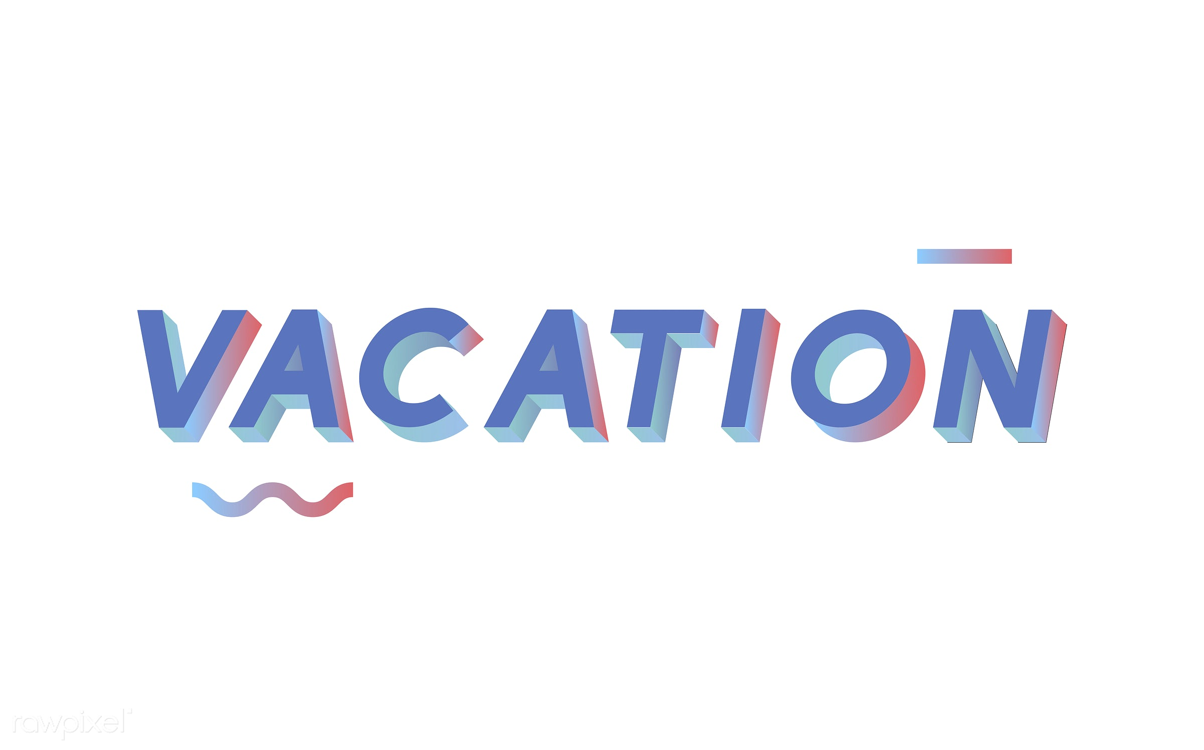 neon, colorful, 3d, three dimensional, vector, illustration, graphic, word, white, blue, vacation, holiday