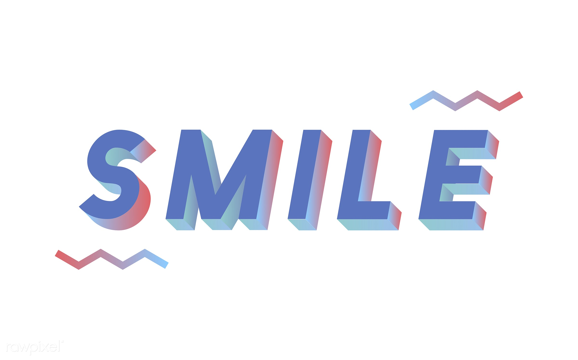 neon, colorful, 3d, three dimensional, vector, illustration, graphic, word, white, blue, smile, laugh, be happy