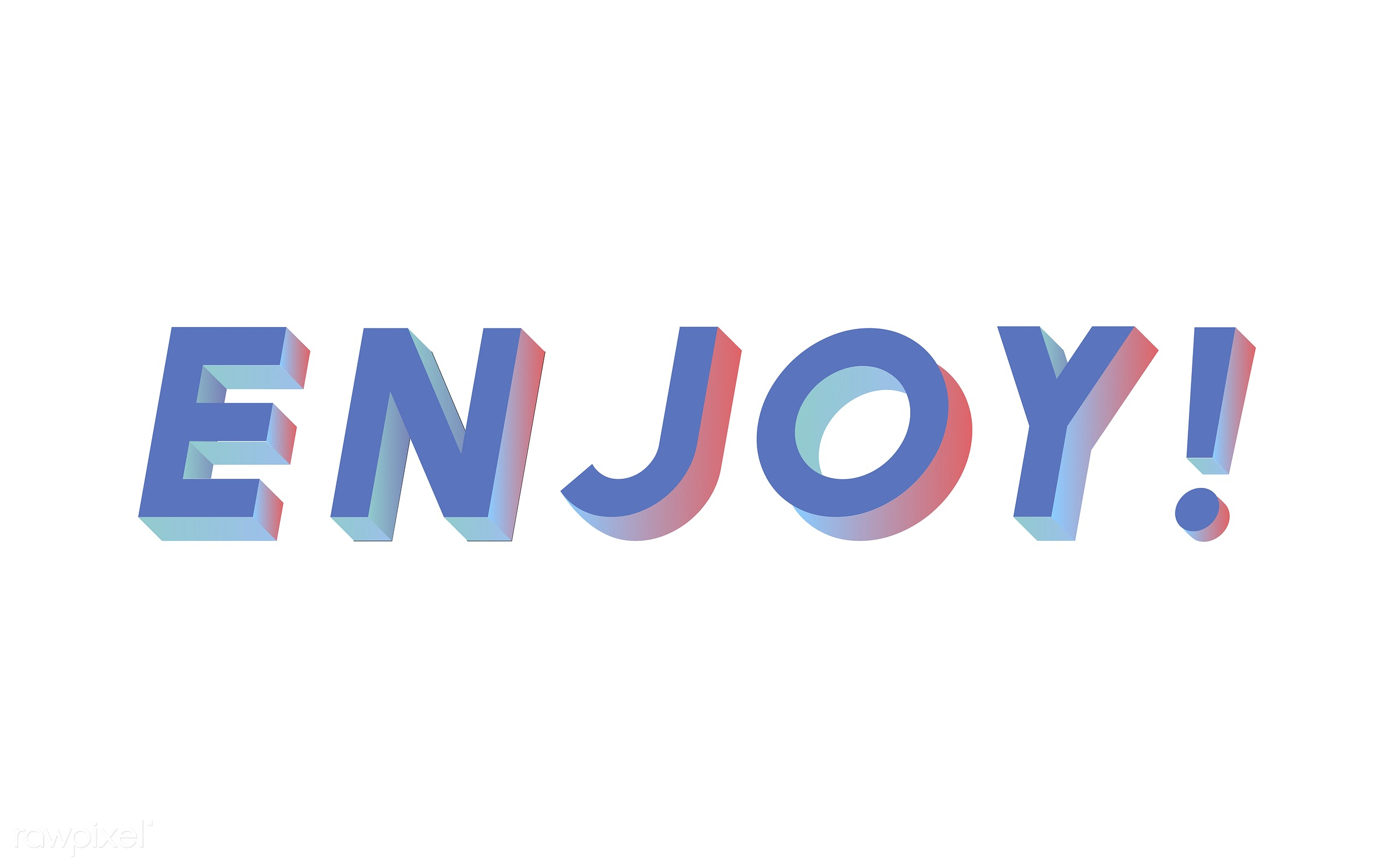 neon, colorful, 3d, three dimensional, vector, illustration, graphic, word, white, blue, enjoy, enjoyment, joy