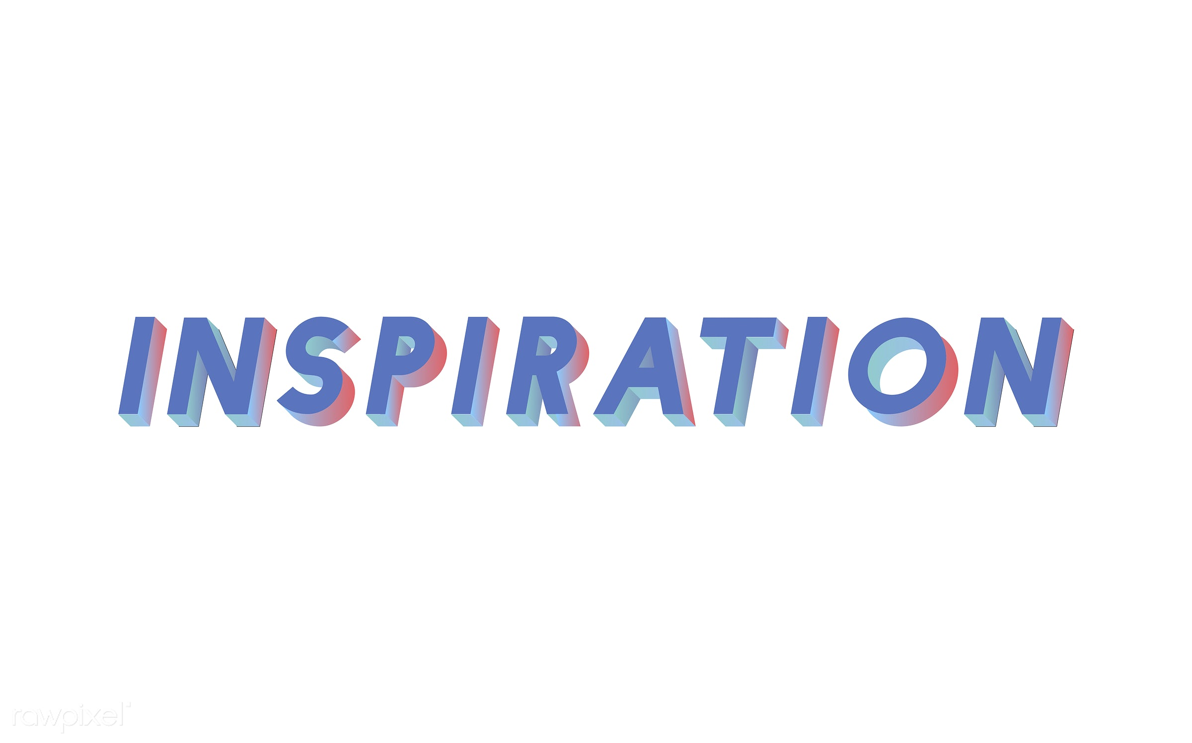 neon, colorful, 3d, three dimensional, vector, illustration, graphic, word, white, blue, inspire, inspiring