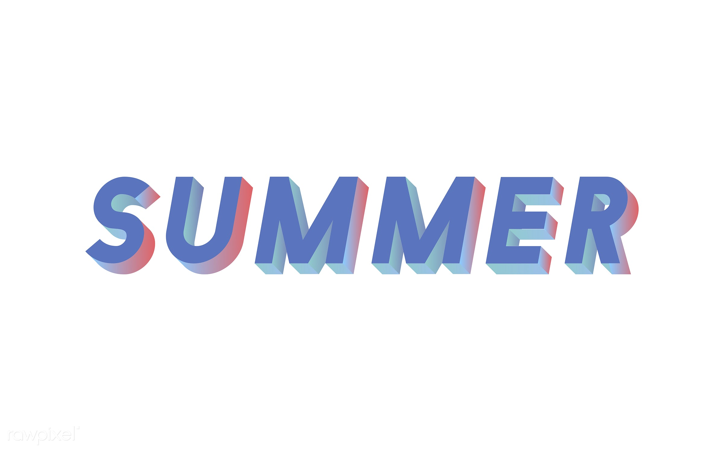 summer, 3d, blue, colorful, graphic, illustration, neon, three dimensional, vector, white, word