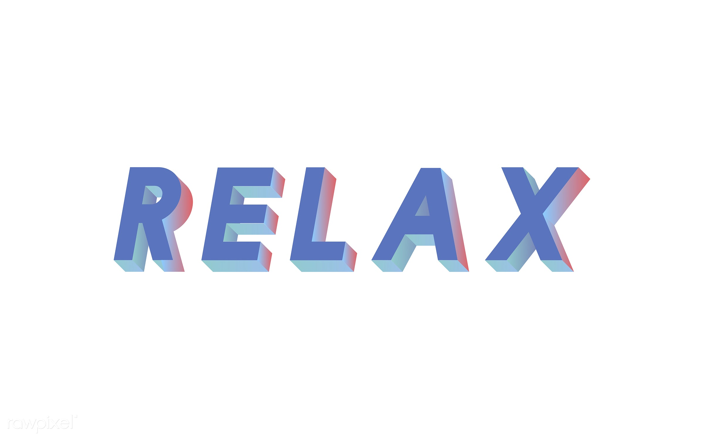 neon, colorful, 3d, three dimensional, vector, illustration, graphic, word, white, blue, relax, relaxing, relaxation