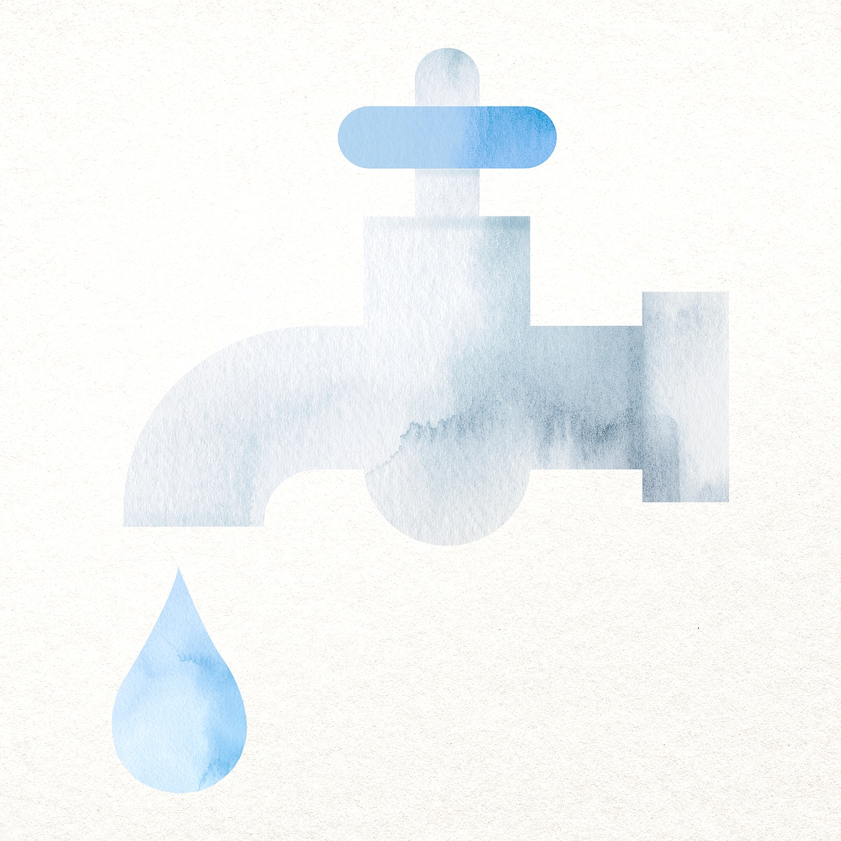 Tap water design element psd in watercolor illustration