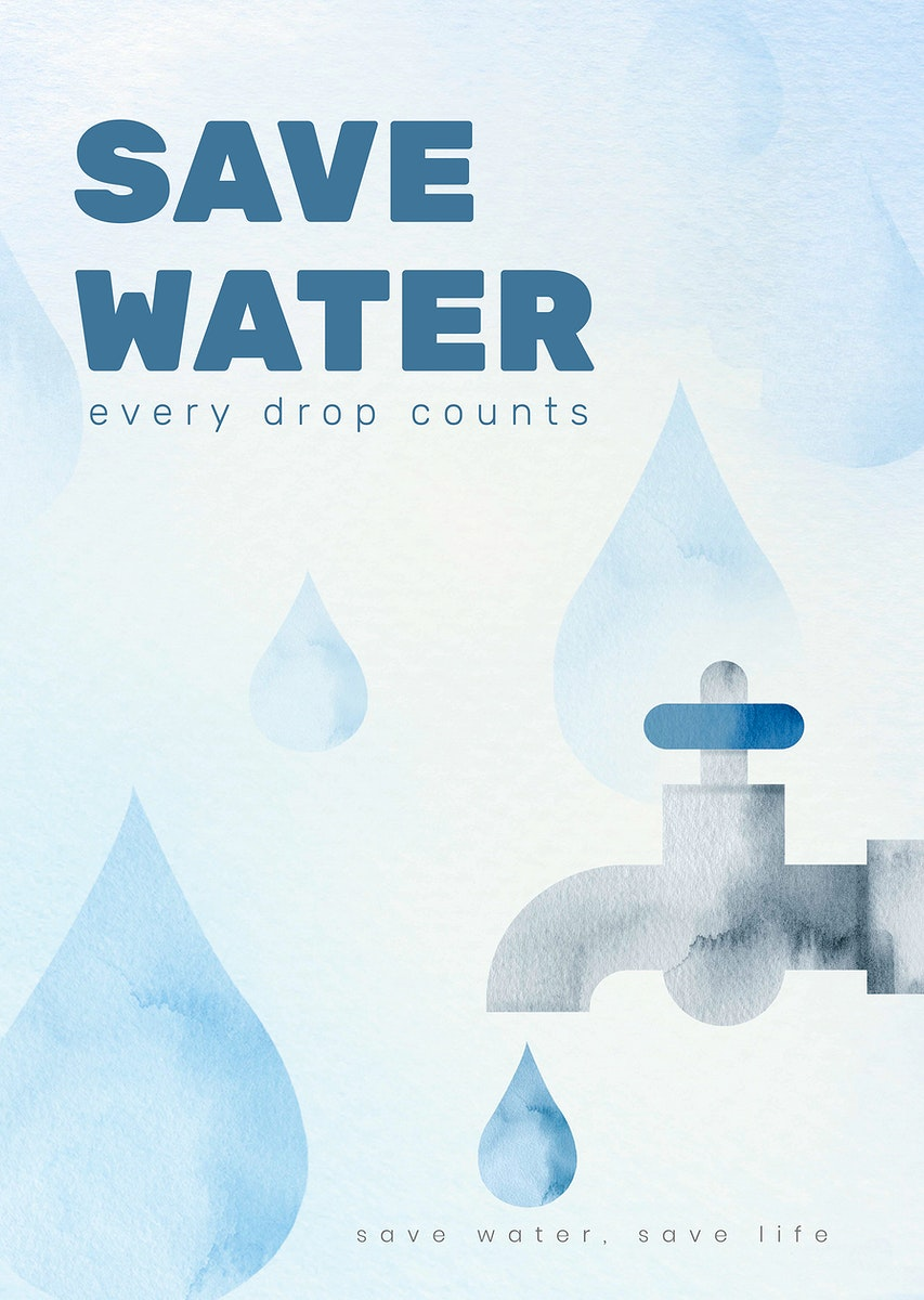 Editable environment poster template psd with save water text in watercolor