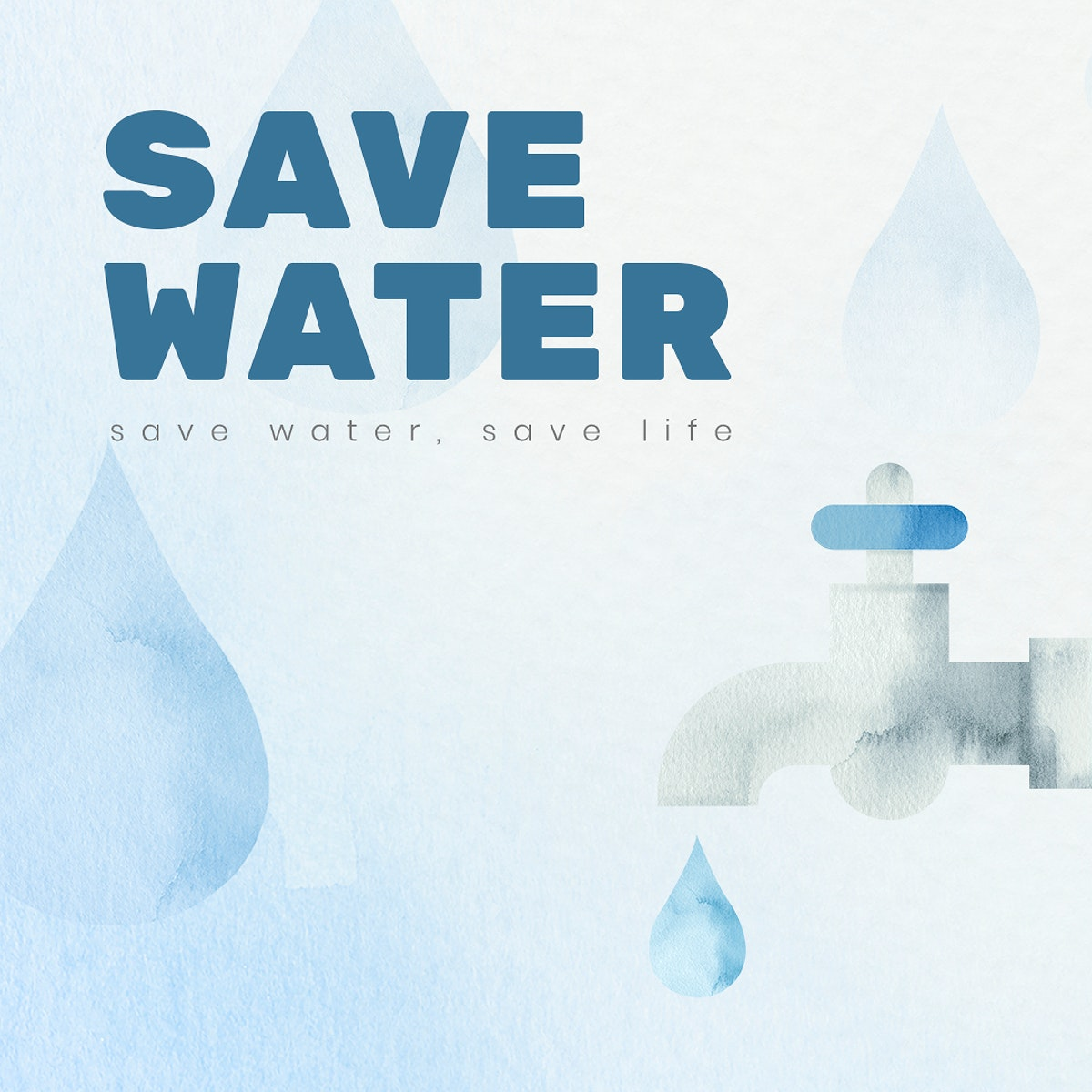 Editable environment template psd for social media post with save water text in watercolor