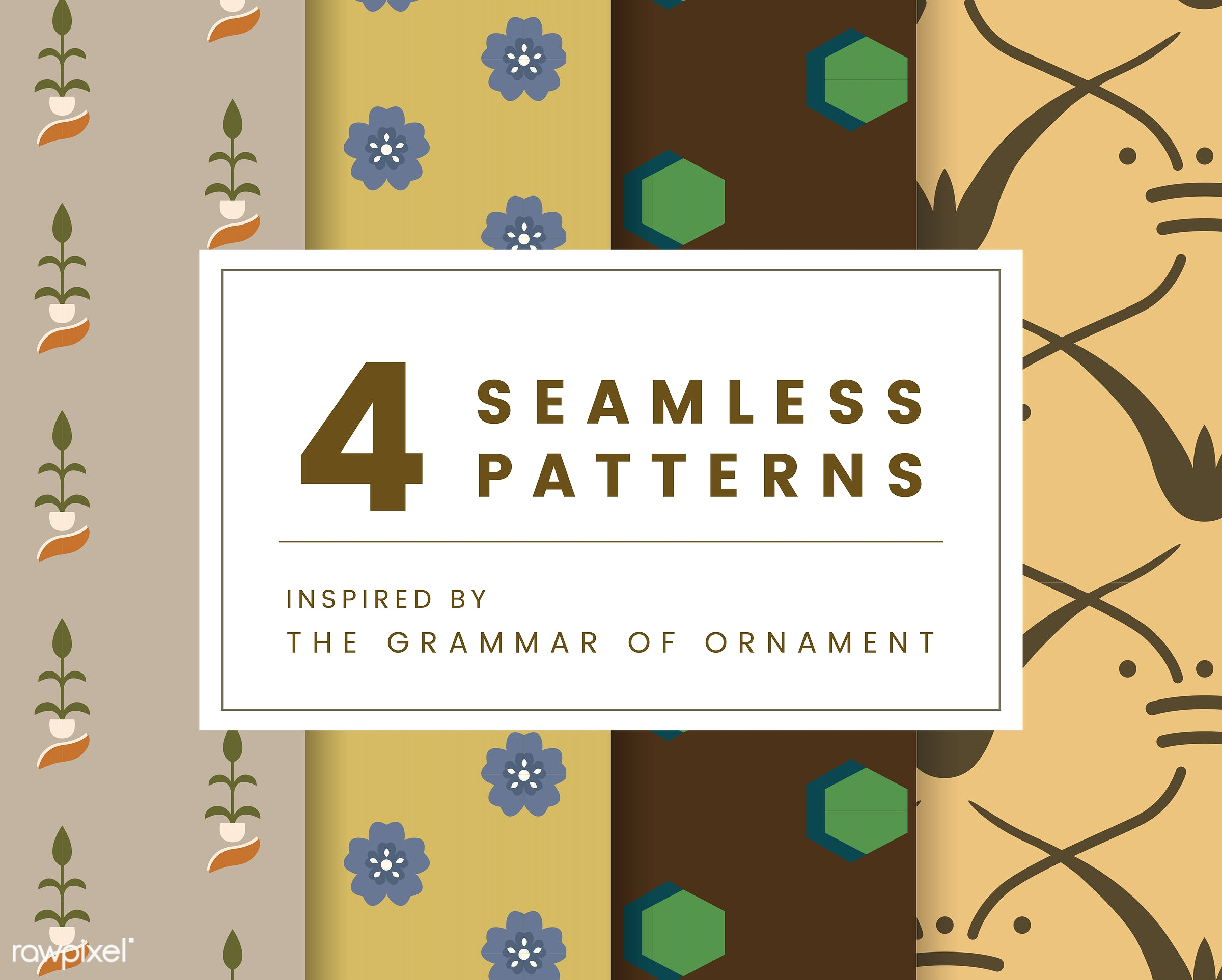 Set of 4 vintage patterns inspired by The Grammar of Ornament  - pattern, vintage, seamless, modern, texture, print, design...
