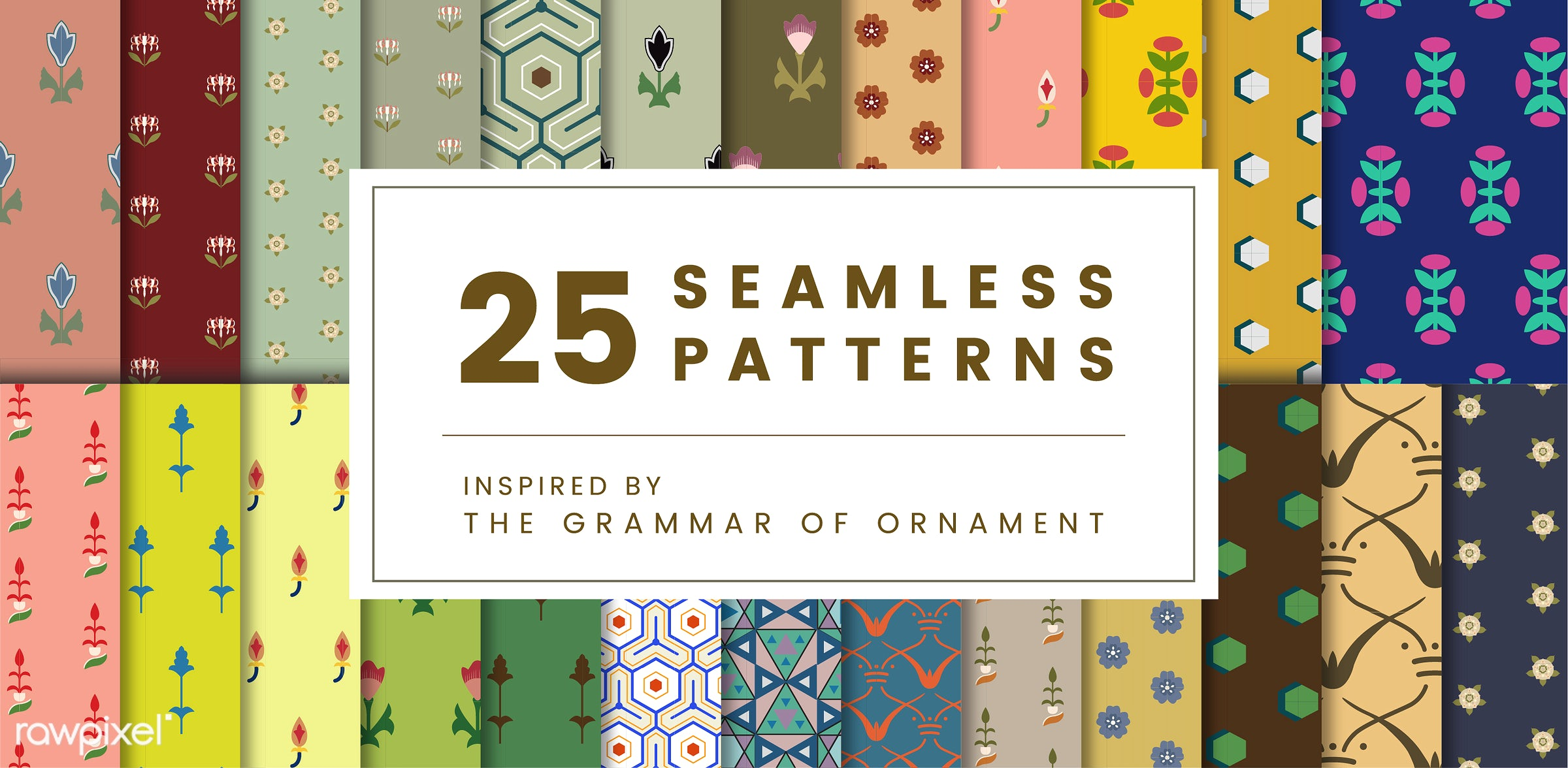 Set of 25 vintage patterns inspired by The Grammar of Ornament  - pattern, vintage, seamless, modern, texture, textile,...
