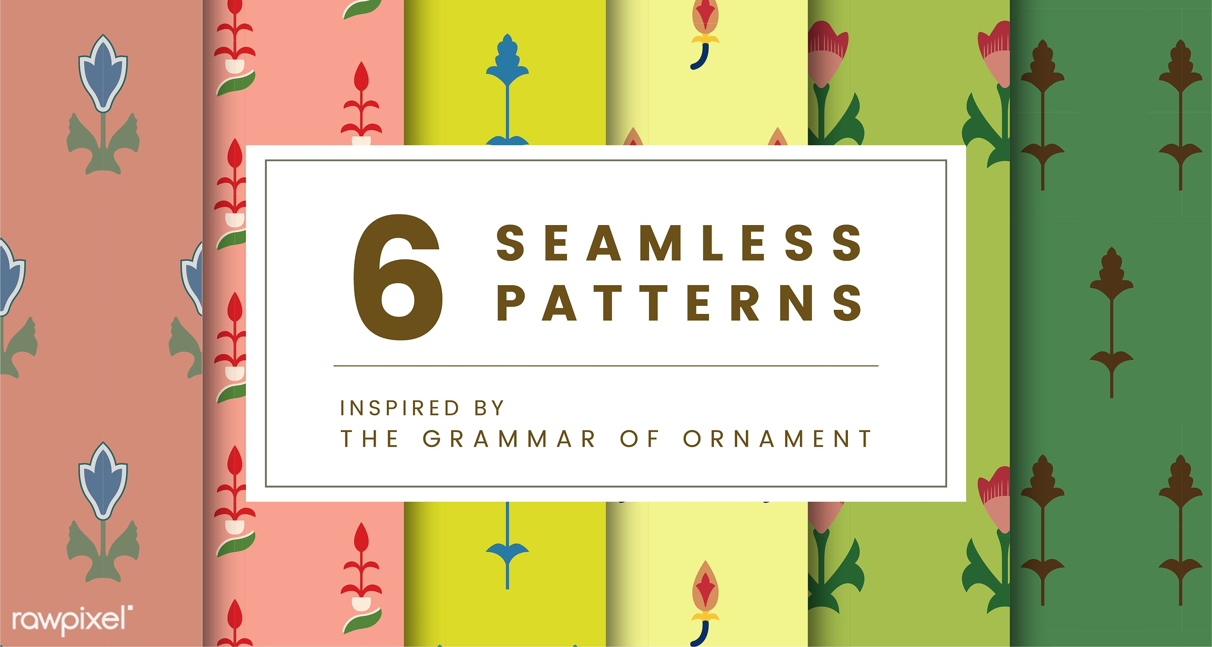 Set of 6 vintage patterns inspired by The Grammar of Ornament  - pattern, vintage, seamless, modern, texture, print, design...