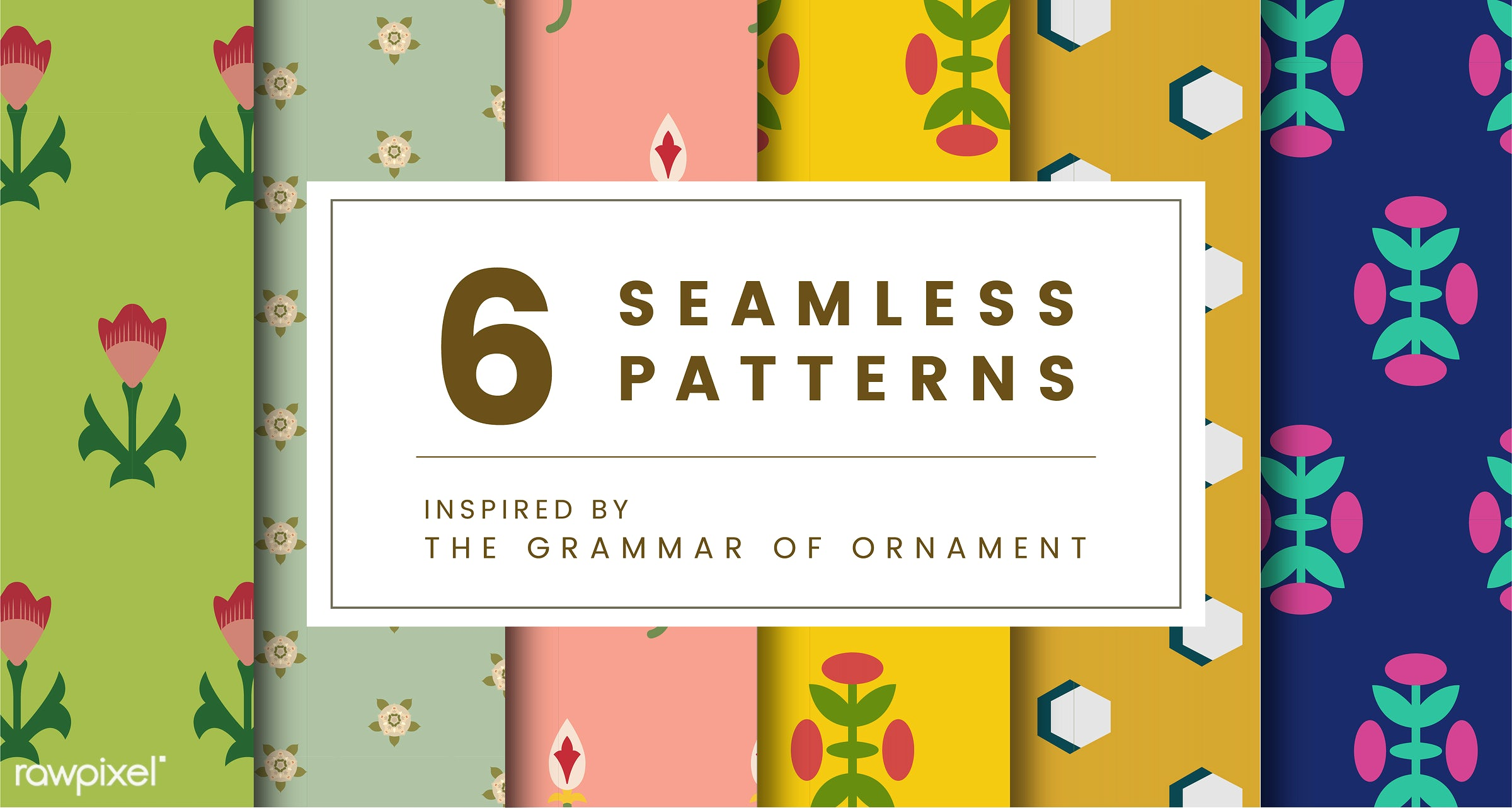Set of 6 vintage patterns inspired by The Grammar of Ornament  - pattern, vintage, seamless, modern, texture, textile, print...
